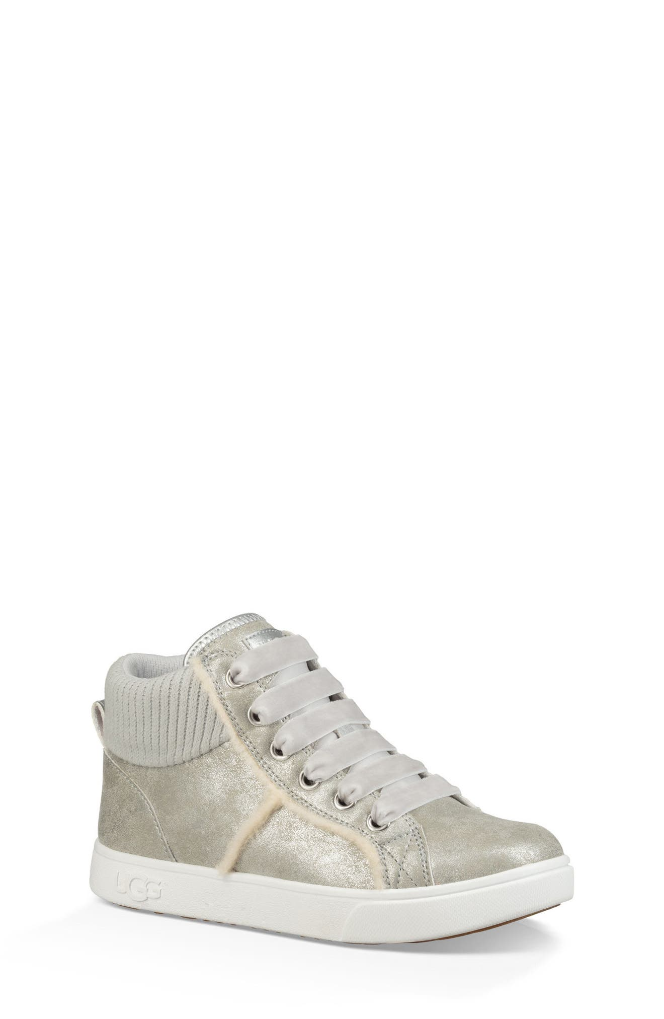UGG<SUP>®</SUP>, Addie High Top Sneaker, Main thumbnail 1, color, SILVER