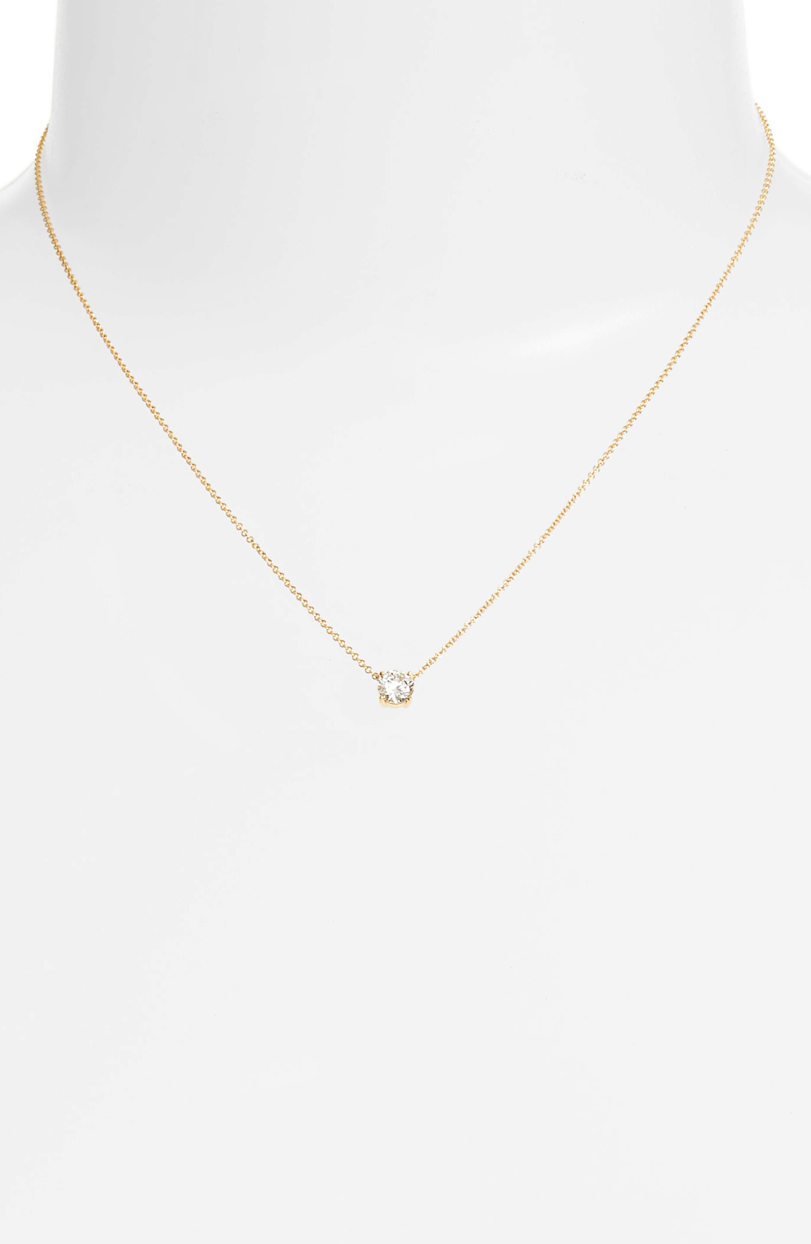 BONY LEVY, Liora Large Solitaire Diamond Pendant, Alternate thumbnail 2, color, YELLOW GOLD