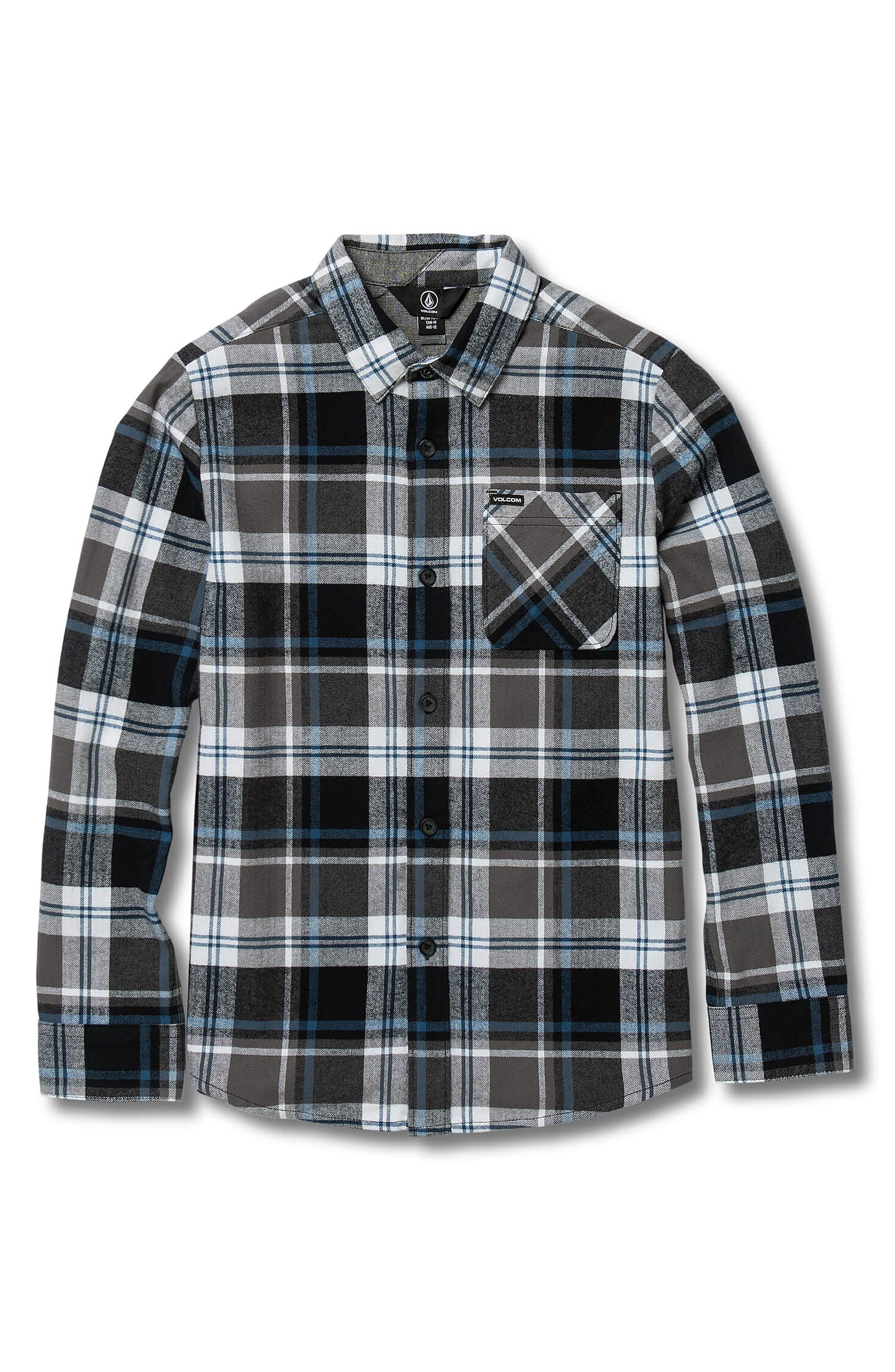VOLCOM, Caden Plaid Flannel Shirt, Main thumbnail 1, color, PEWTER