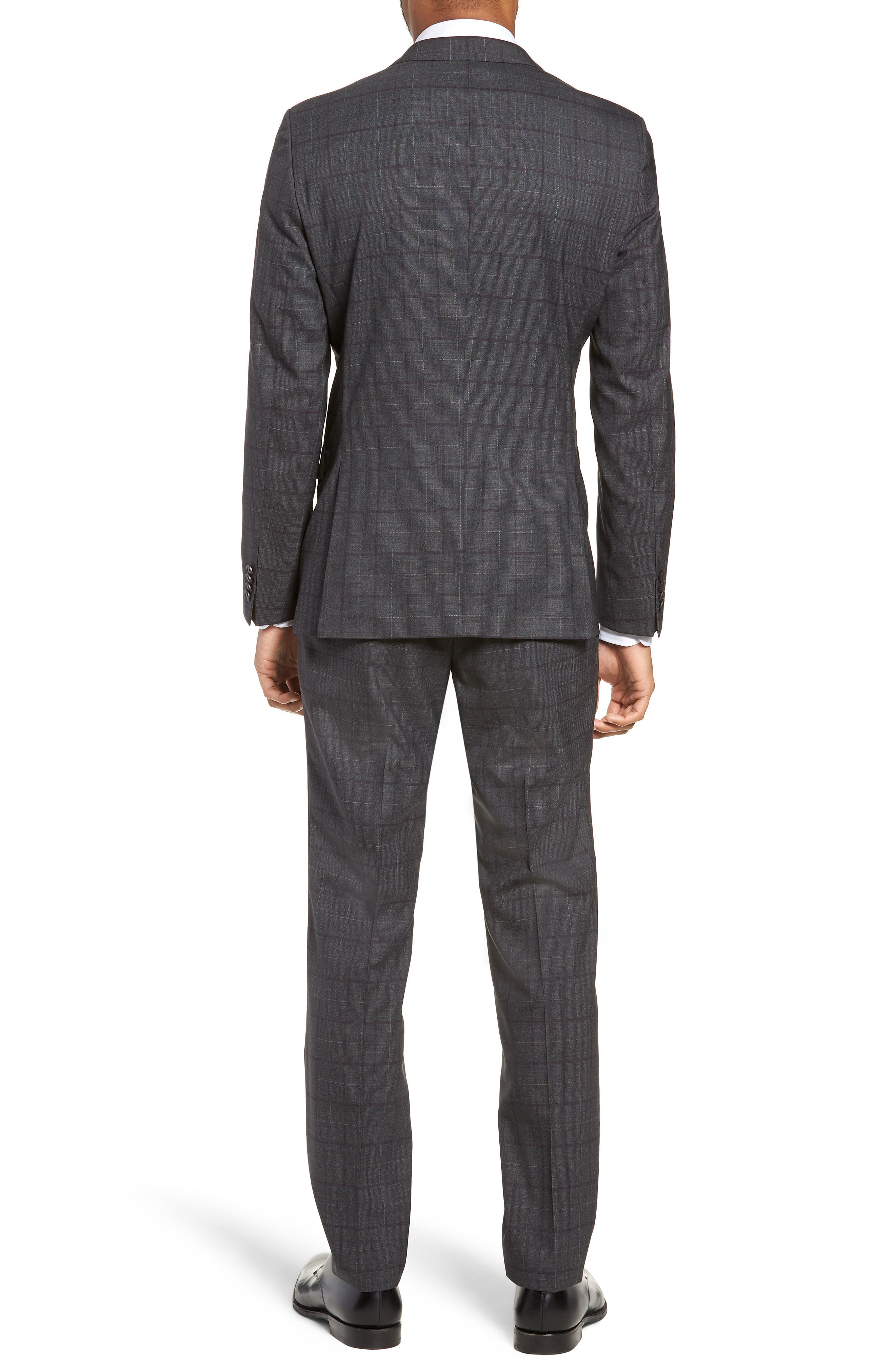 BOSS, Novan/Ben Trim Fit Plaid Wool Suit, Alternate thumbnail 2, color, 506