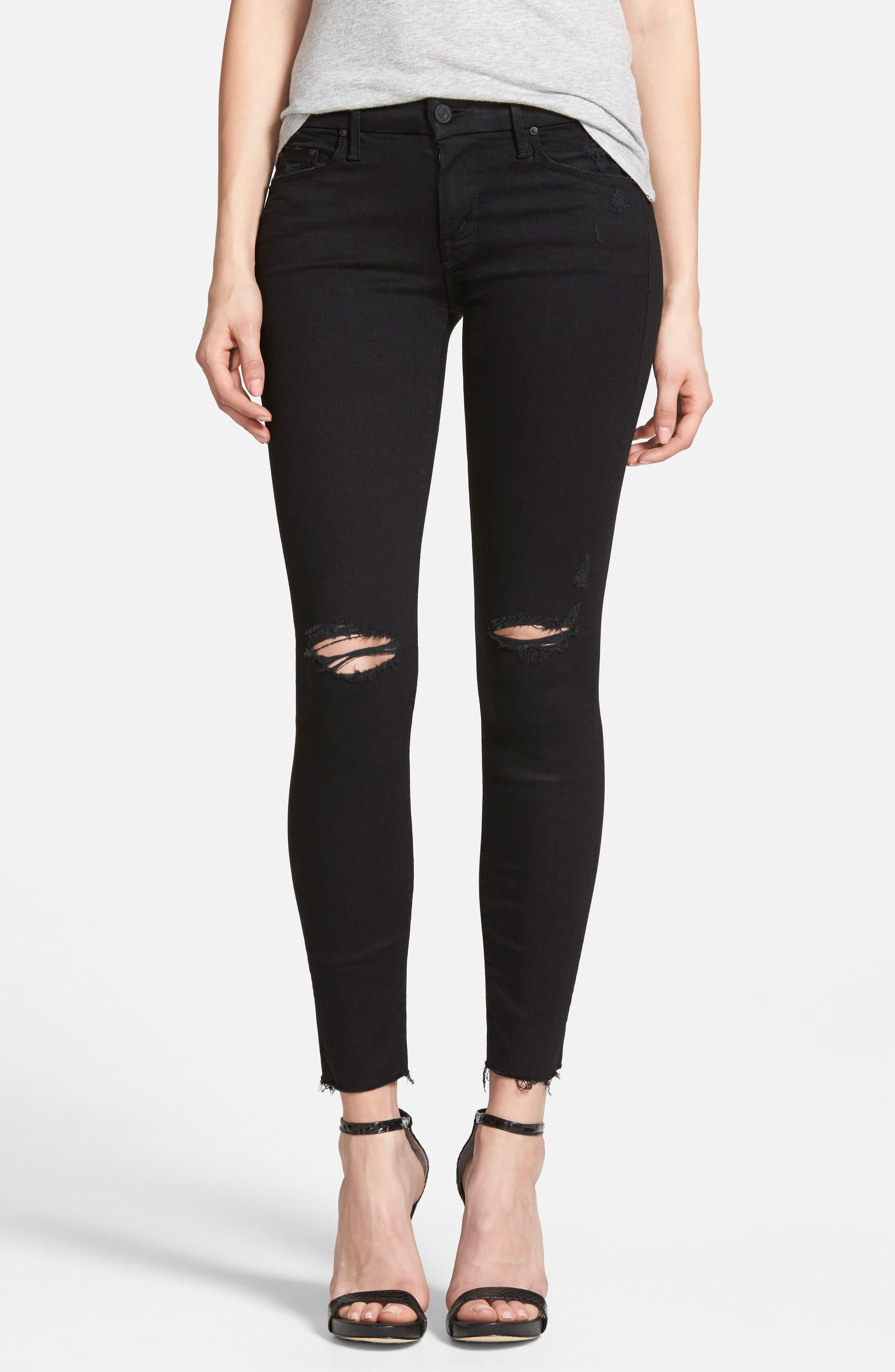 MOTHER 'The Looker' Frayed Ankle Skinny Jeans, Main, color, GUILTY AS SIN