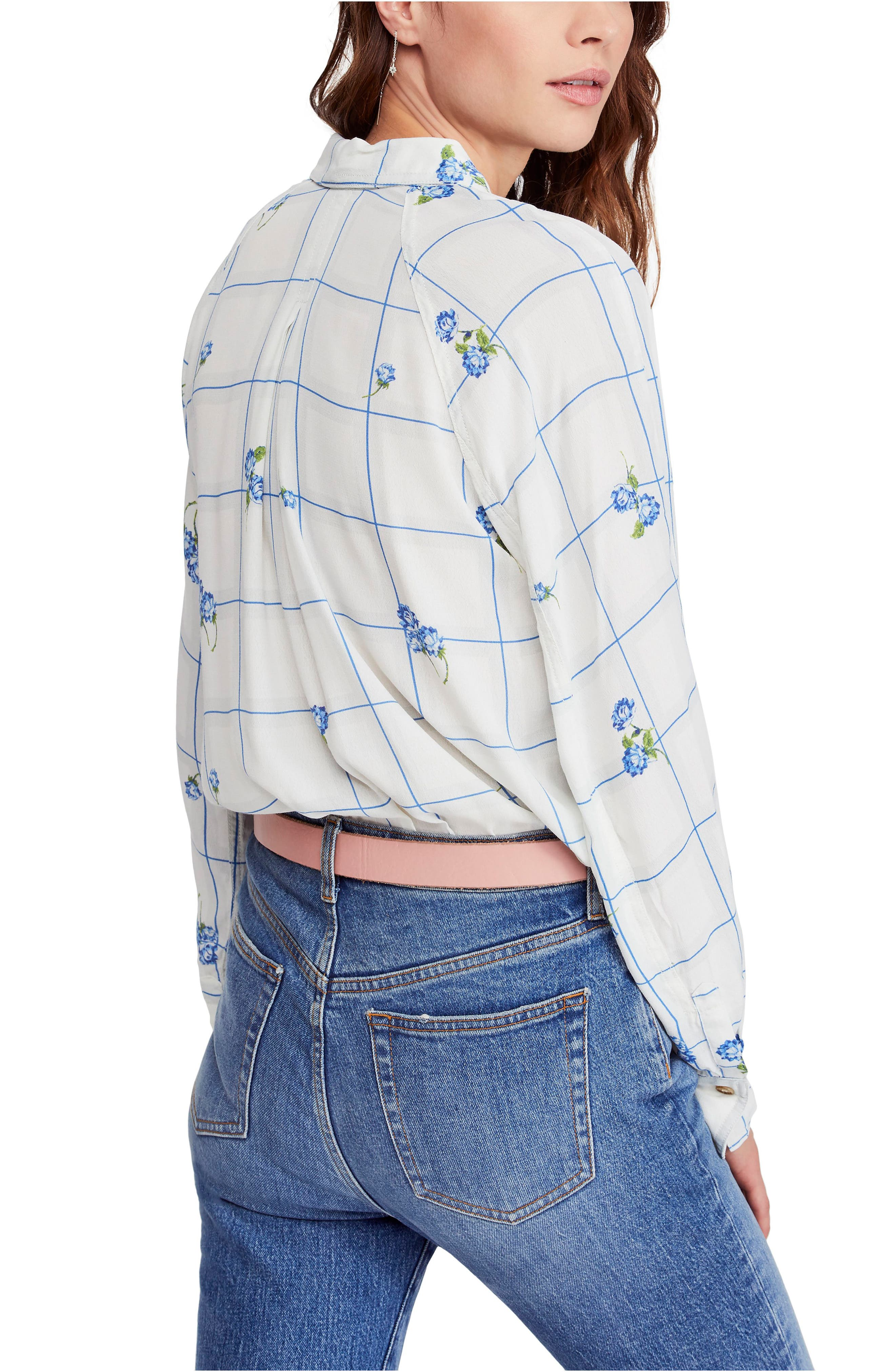 FREE PEOPLE, Window to My Heart Blouse, Alternate thumbnail 2, color, WHITE