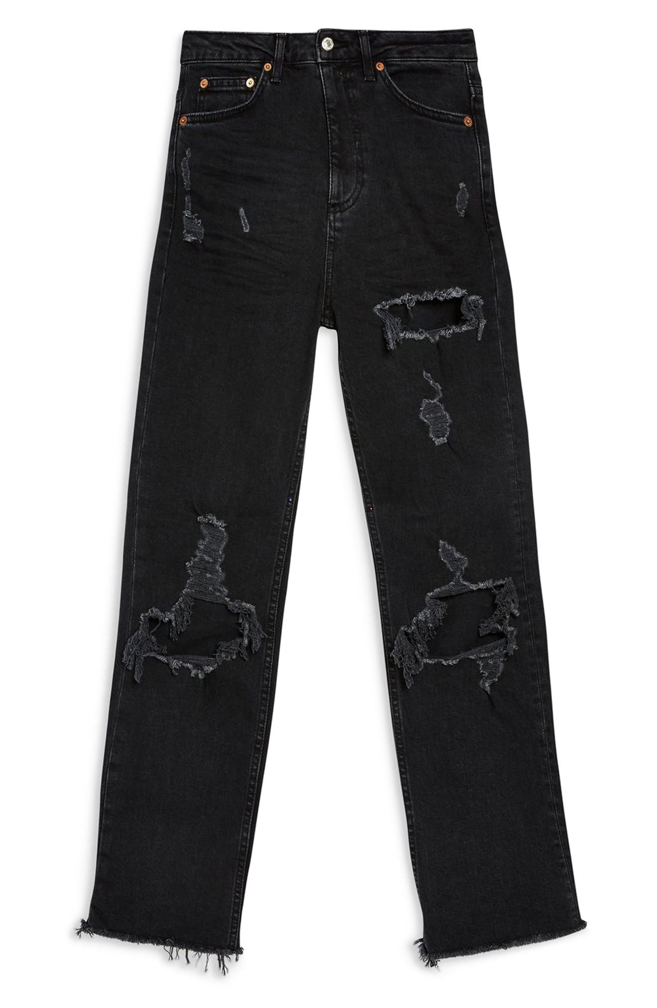 TOPSHOP, Ripped Straight Jeans, Alternate thumbnail 4, color, WASHED BLACK