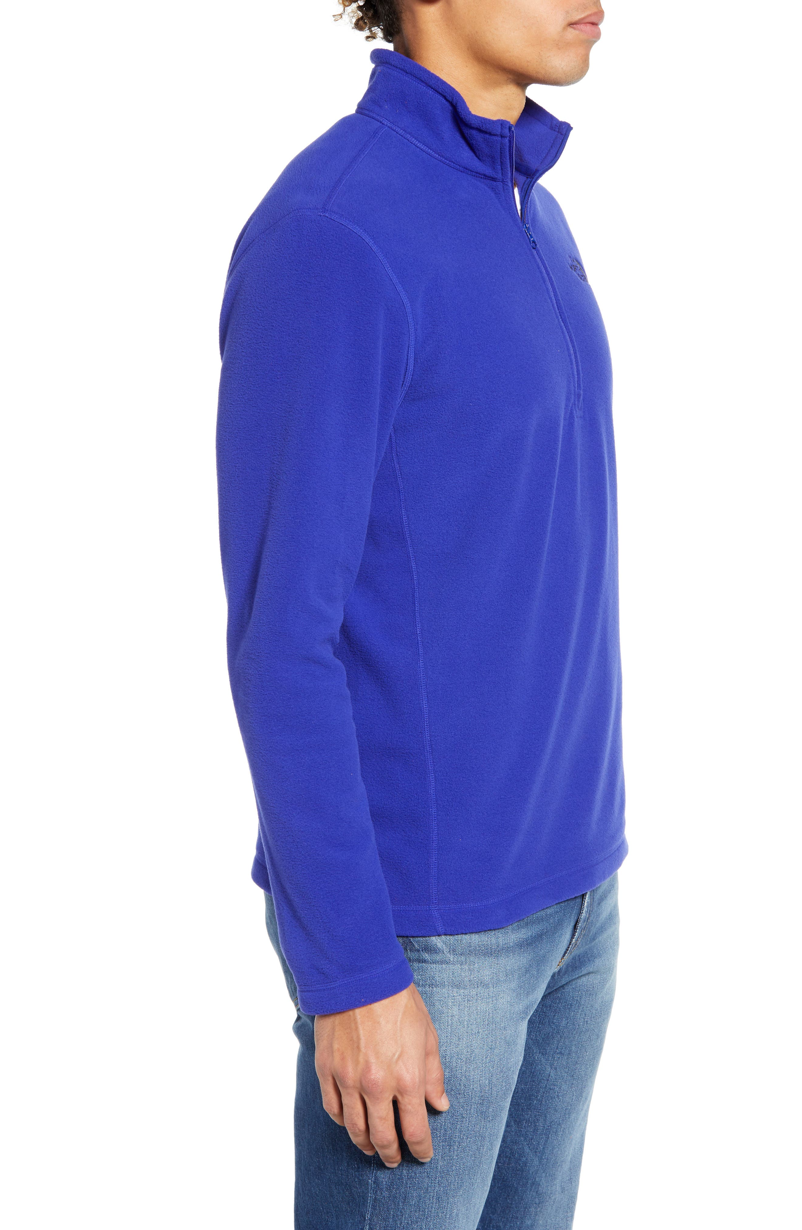 THE NORTH FACE, 'TKA 100 Glacier' Quarter Zip Fleece Pullover, Alternate thumbnail 4, color, AZTEC BLUE