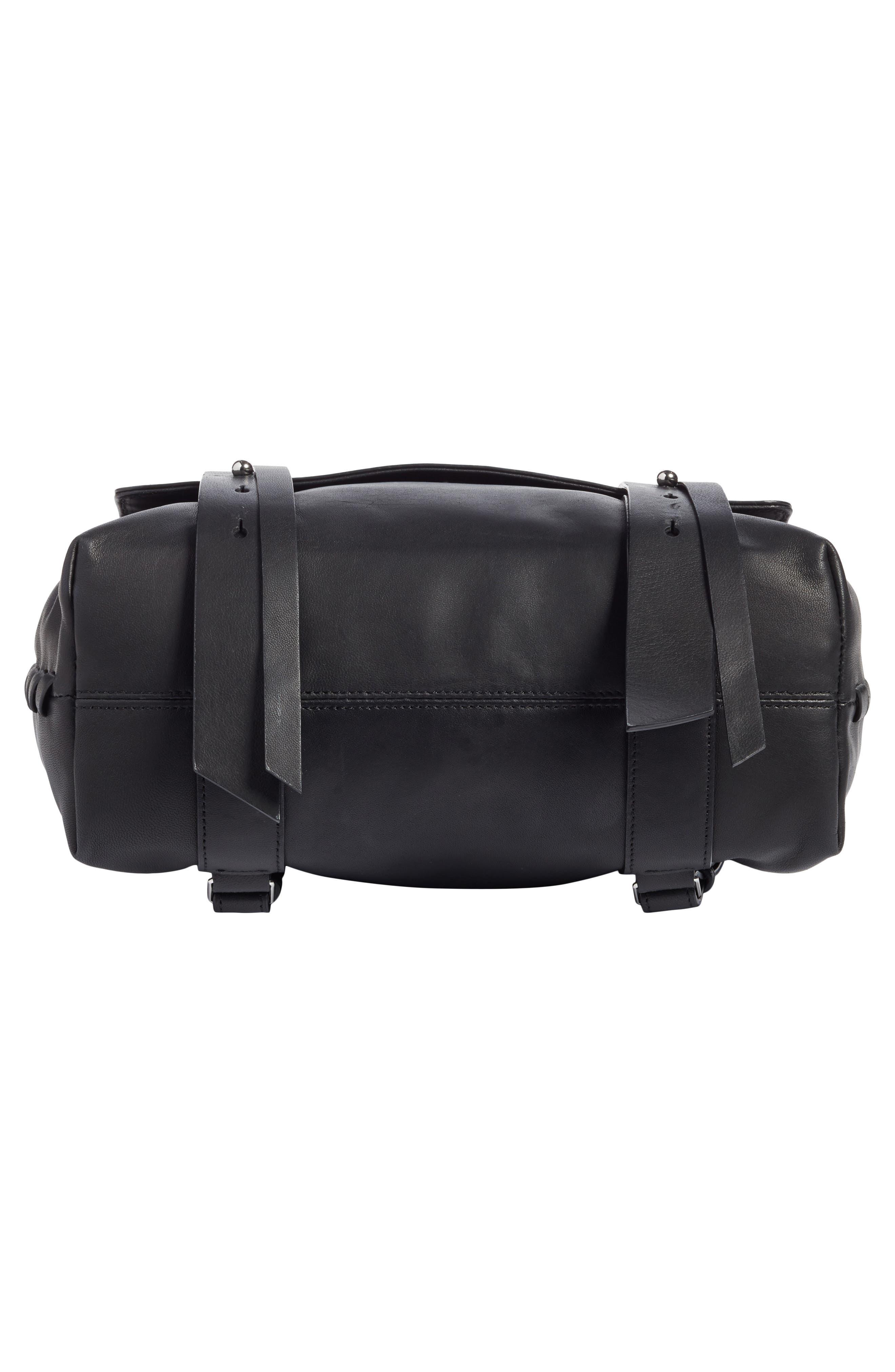 ALLSAINTS, Fin Leather Backpack, Alternate thumbnail 6, color, BLACK