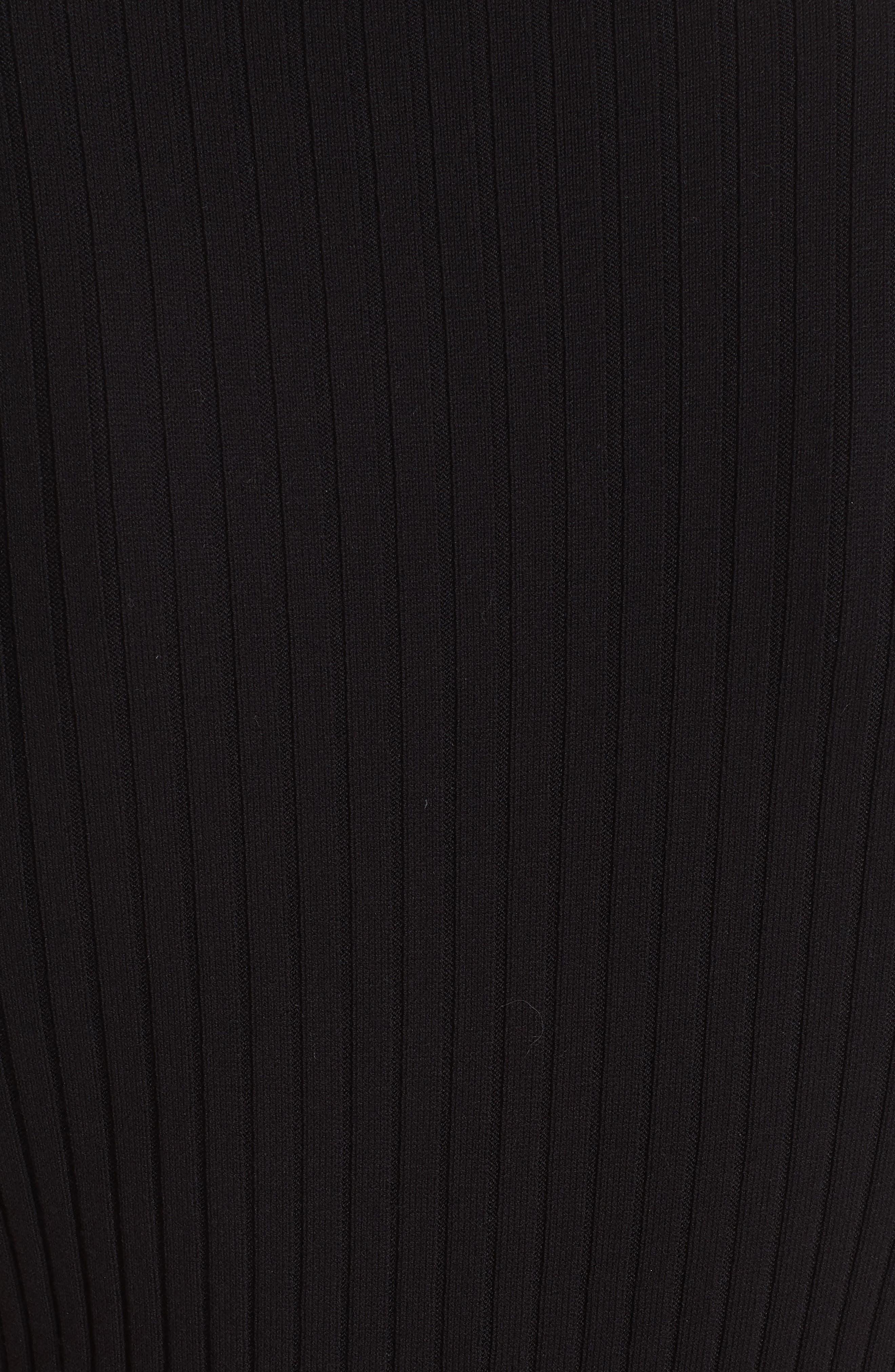 ST. JOHN COLLECTION, Flat Rib Knit Mock Neck Sweater, Alternate thumbnail 4, color, CAVIAR