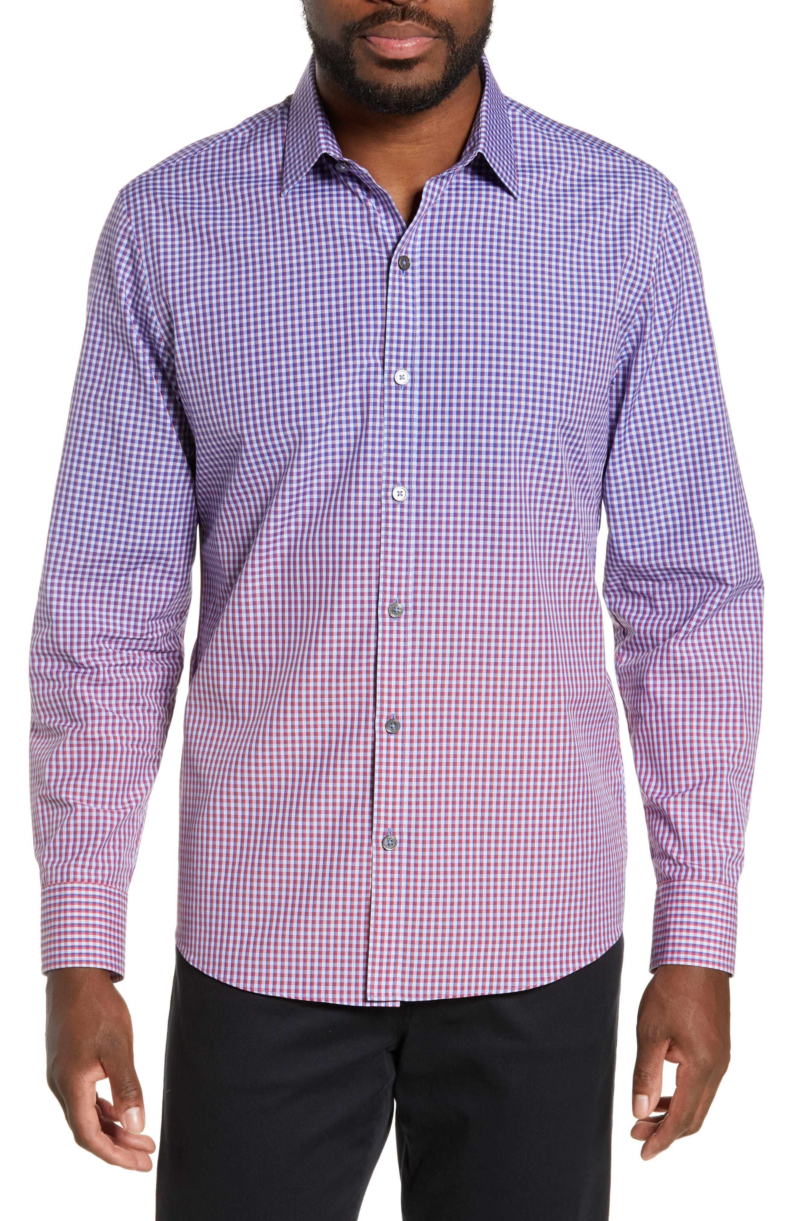 ZACHARY PRELL, Germain Regular Fit Gradient Check Sport Shirt, Main thumbnail 1, color, RED