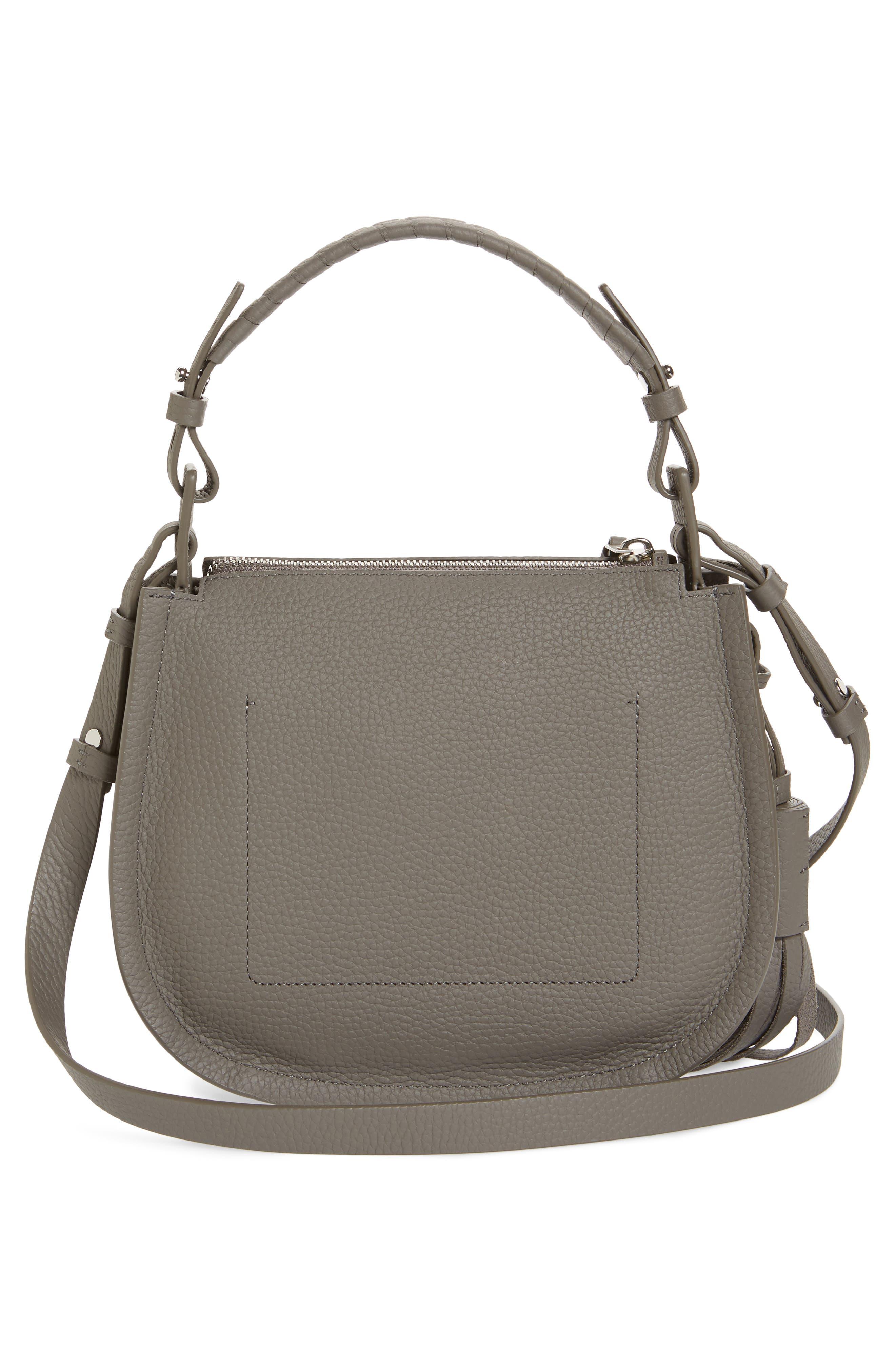 ALLSAINTS, Mori Leather Crossbody Bag, Alternate thumbnail 3, color, STORM GREY