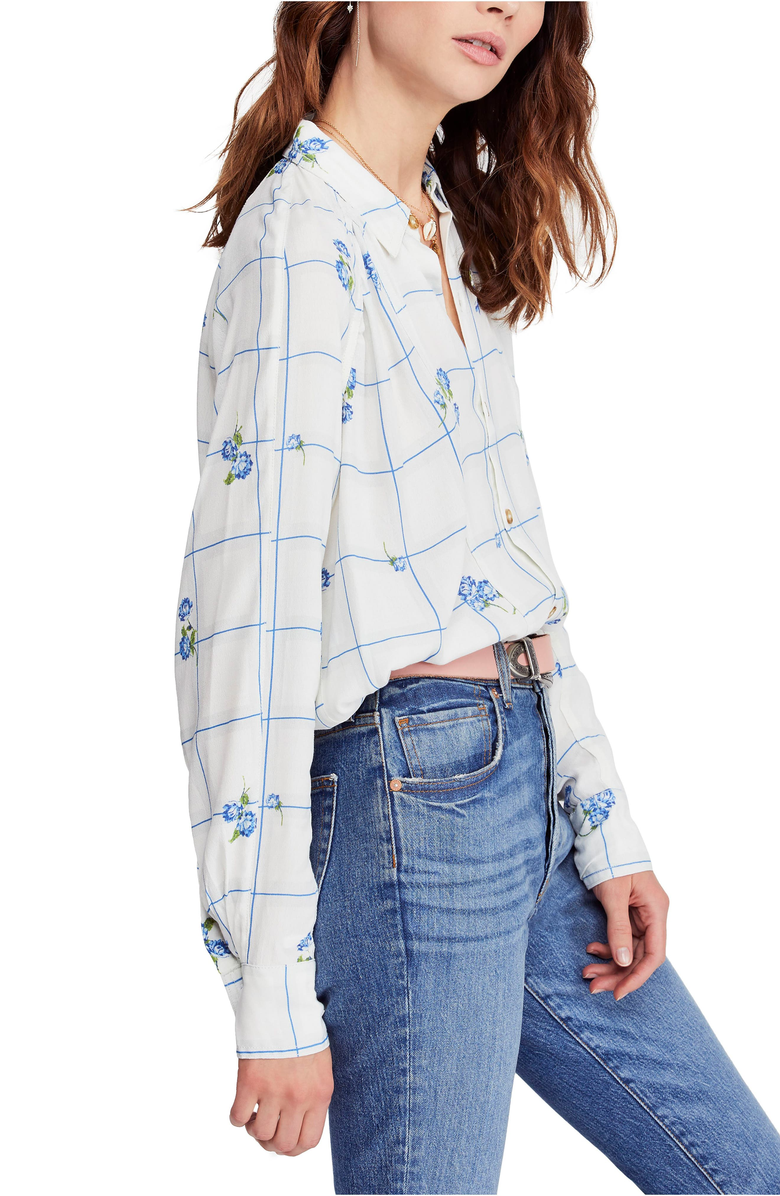 FREE PEOPLE, Window to My Heart Blouse, Alternate thumbnail 3, color, WHITE