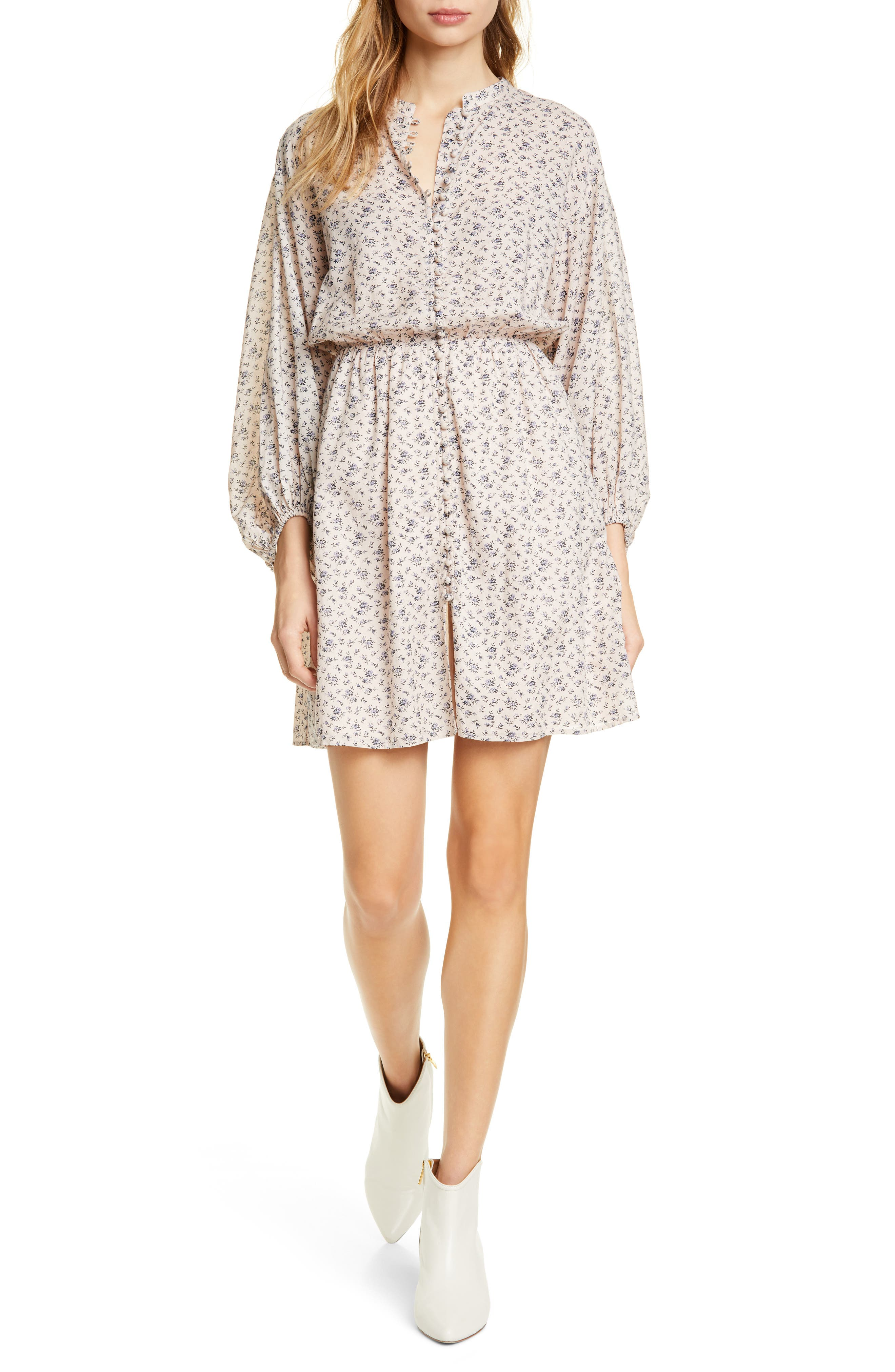 Joie Galani Long Balloon Sleeve Cotton Blend Dress, Pink