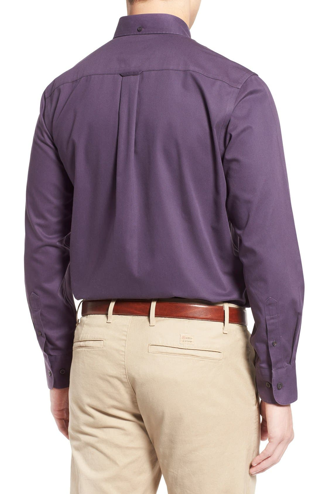 NORDSTROM MEN'S SHOP, Smartcare<sup>™</sup> Traditional Fit Twill Boat Shirt, Alternate thumbnail 4, color, PURPLE NIGHT