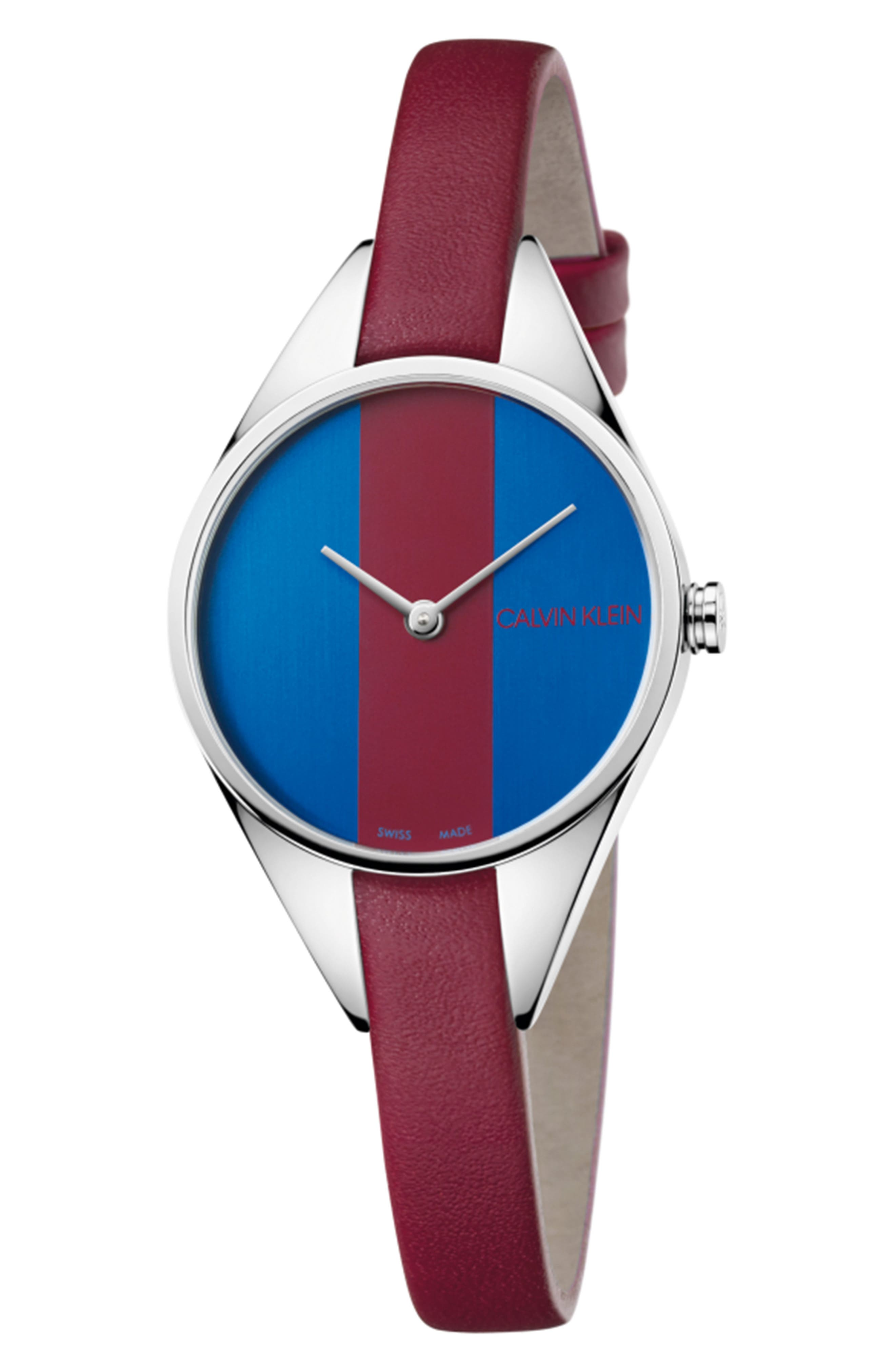 CALVIN KLEIN, Achieve Rebel Leather Band Watch, 29mm, Main thumbnail 1, color, RED/ BLUE/ SILVER