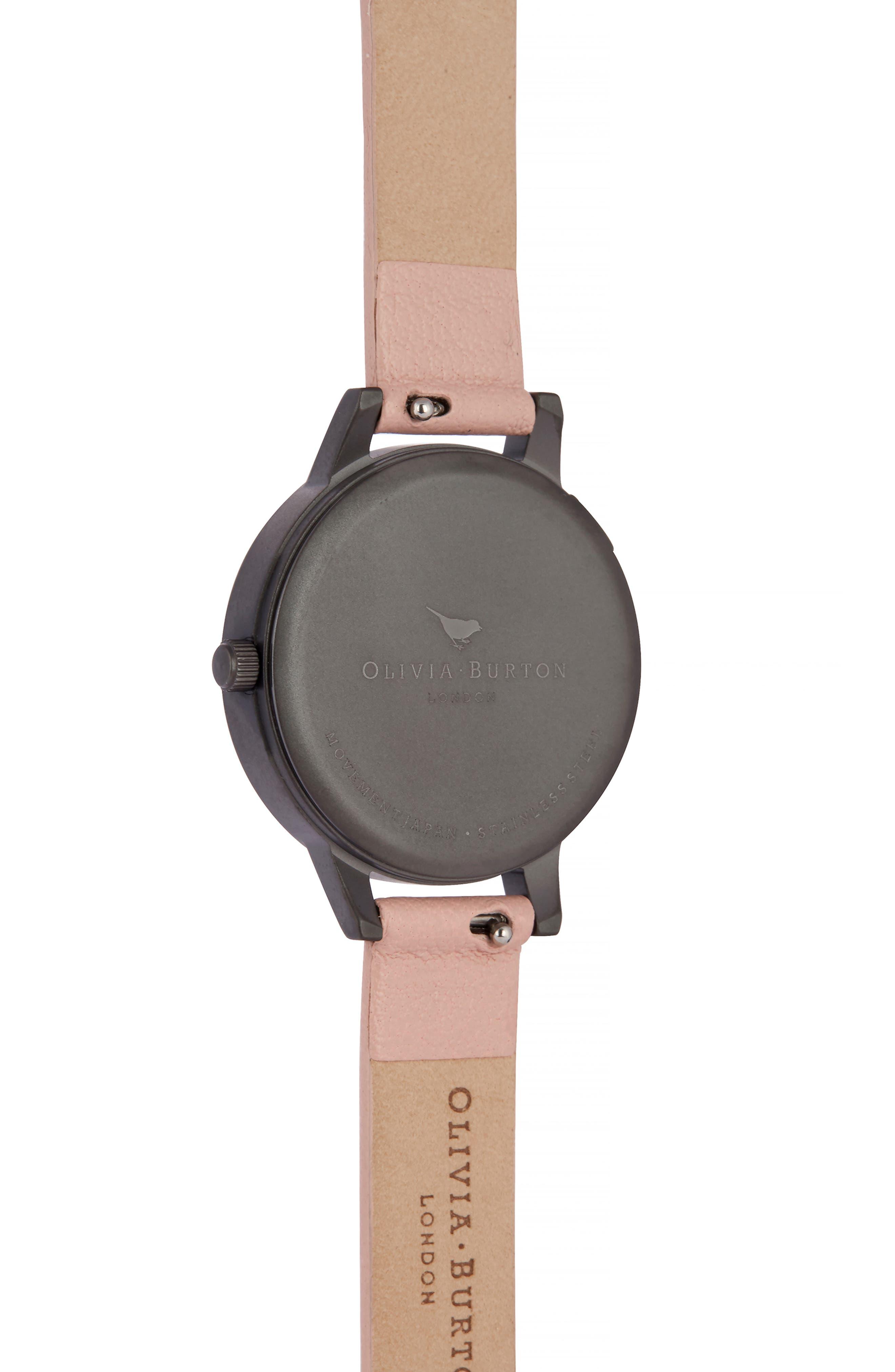 OLIVIA BURTON, Twilight Leather Strap Watch, 30mm, Alternate thumbnail 3, color, 650