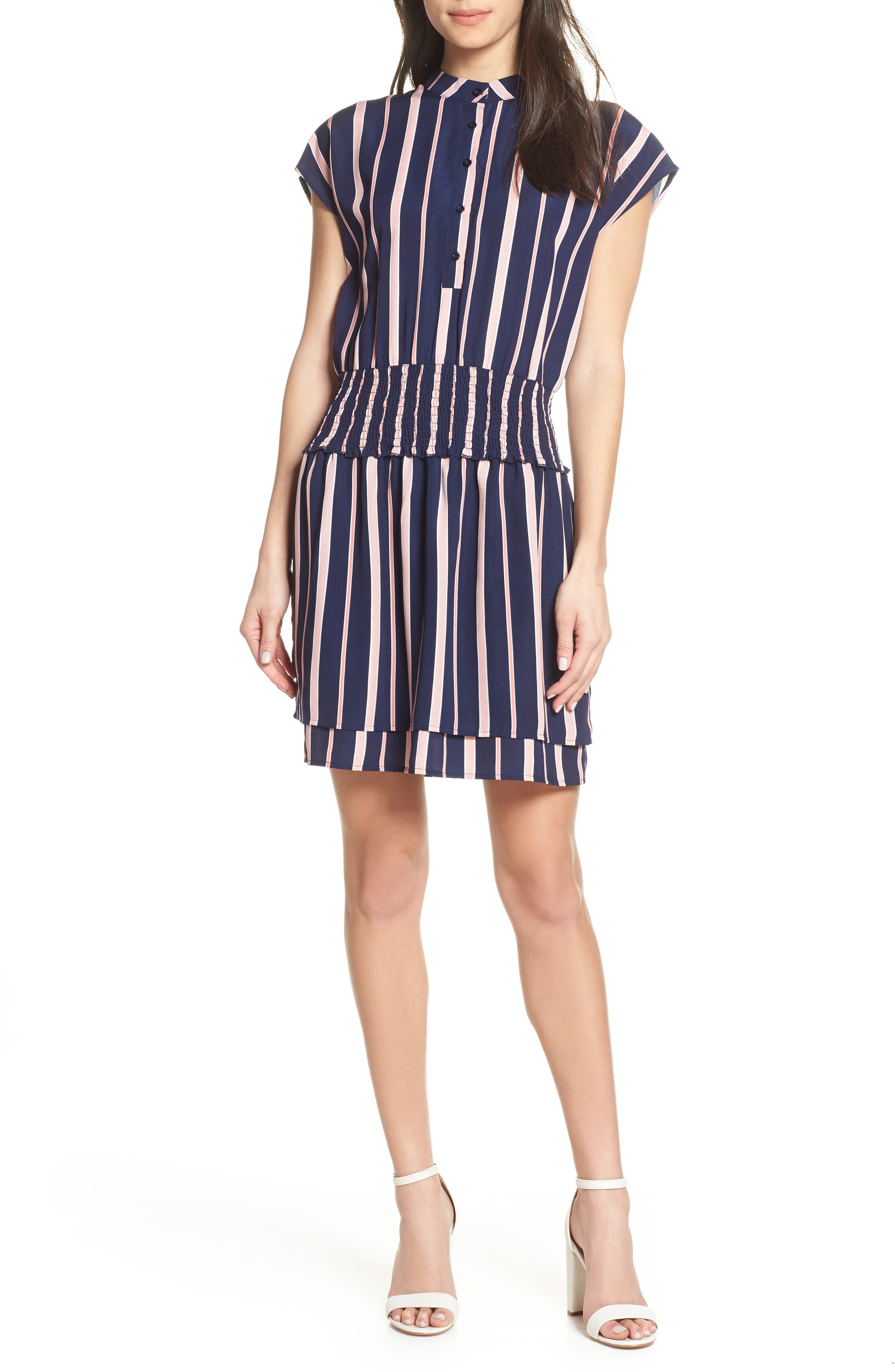 CHARLES HENRY, Smocked Stripe Dress, Main thumbnail 1, color, NAVY/ PINK STRIPE
