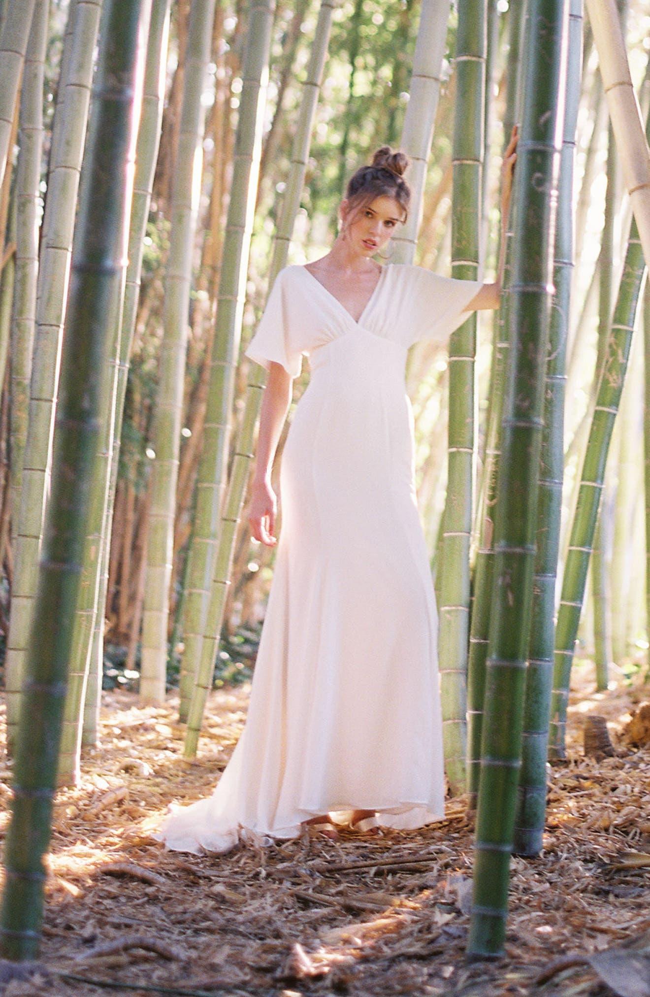 JOANNA AUGUST, Pattie Empire Waist Crepe Gown, Alternate thumbnail 6, color, WHITE