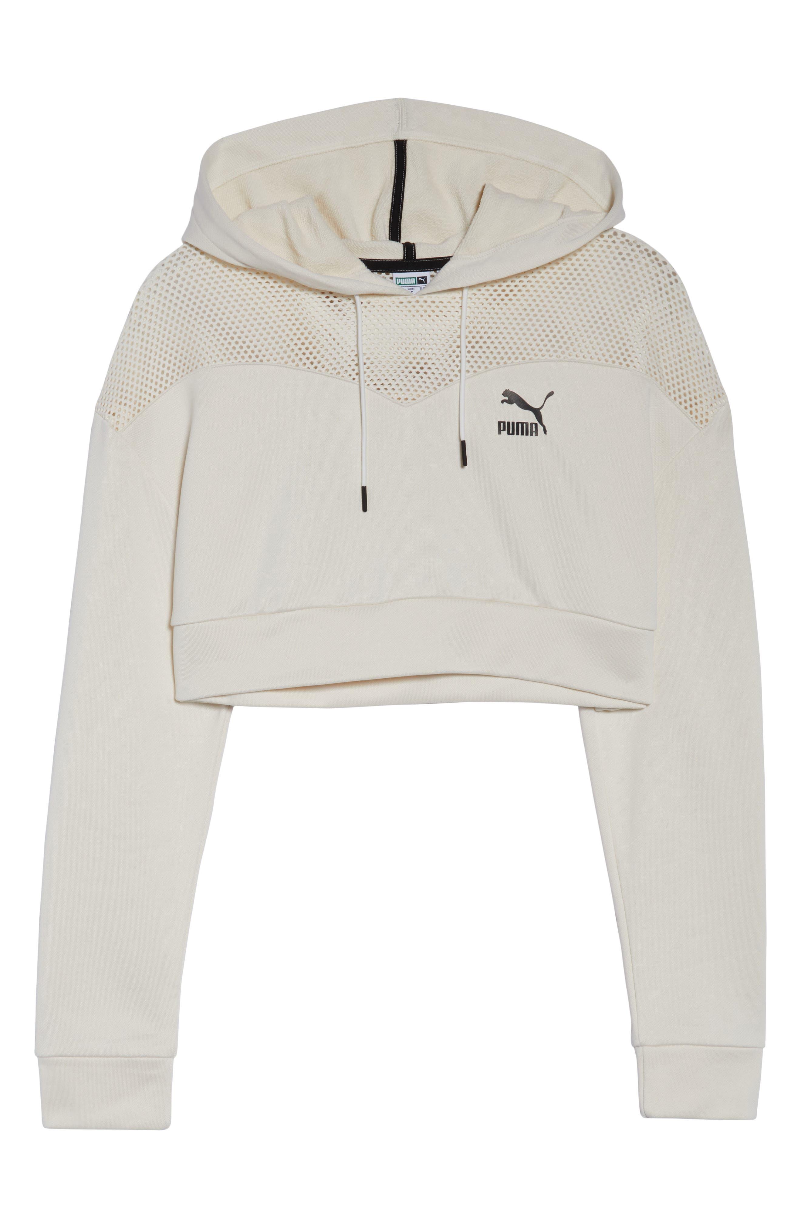 PUMA, Flourish Crop Hooded Sweatshirt, Alternate thumbnail 7, color, WHISPER WHITE-PUMA BLACK