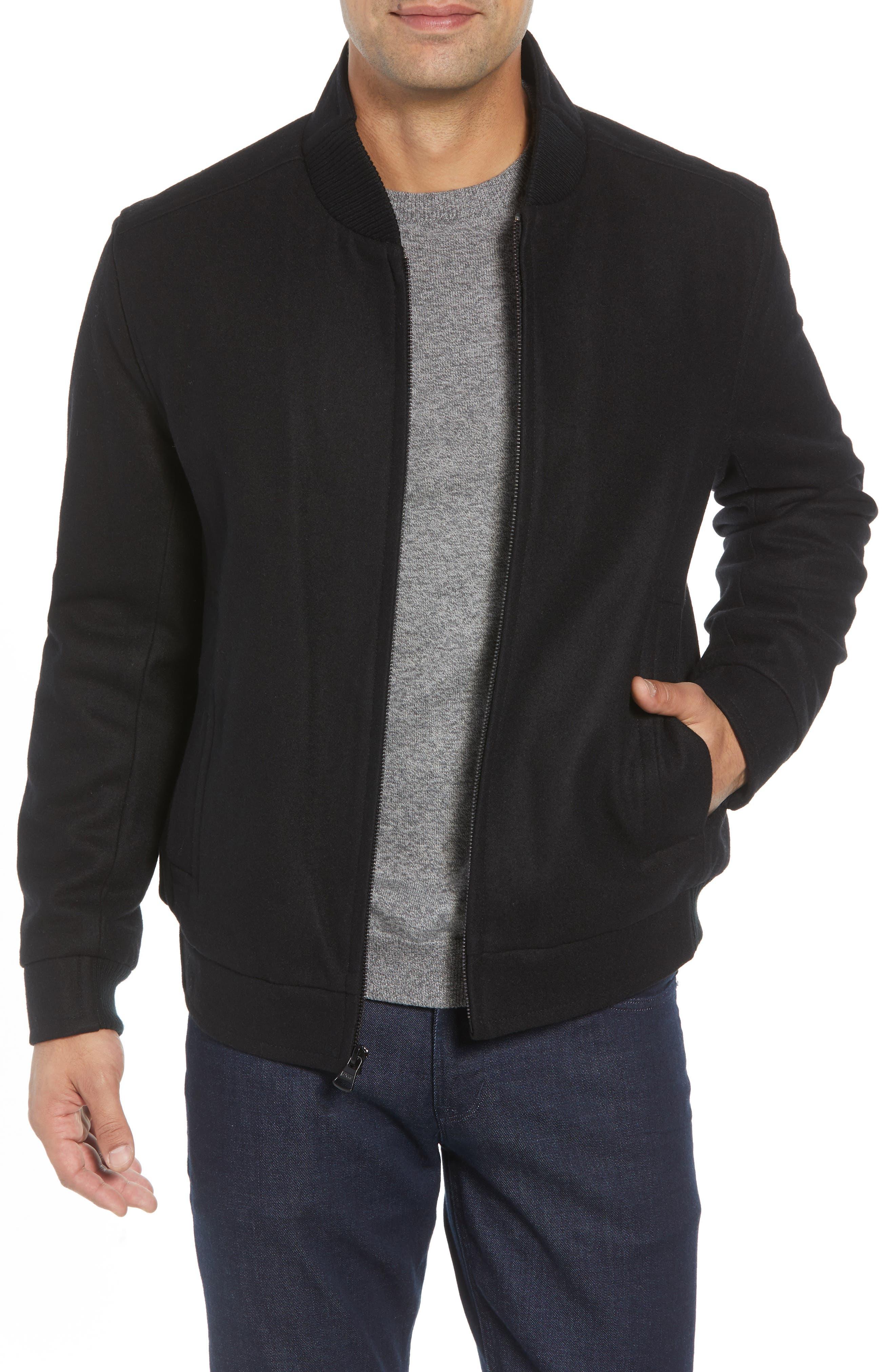 MARC NEW YORK Barlow Wool Blend Bomber Jacket, Main, color, 001