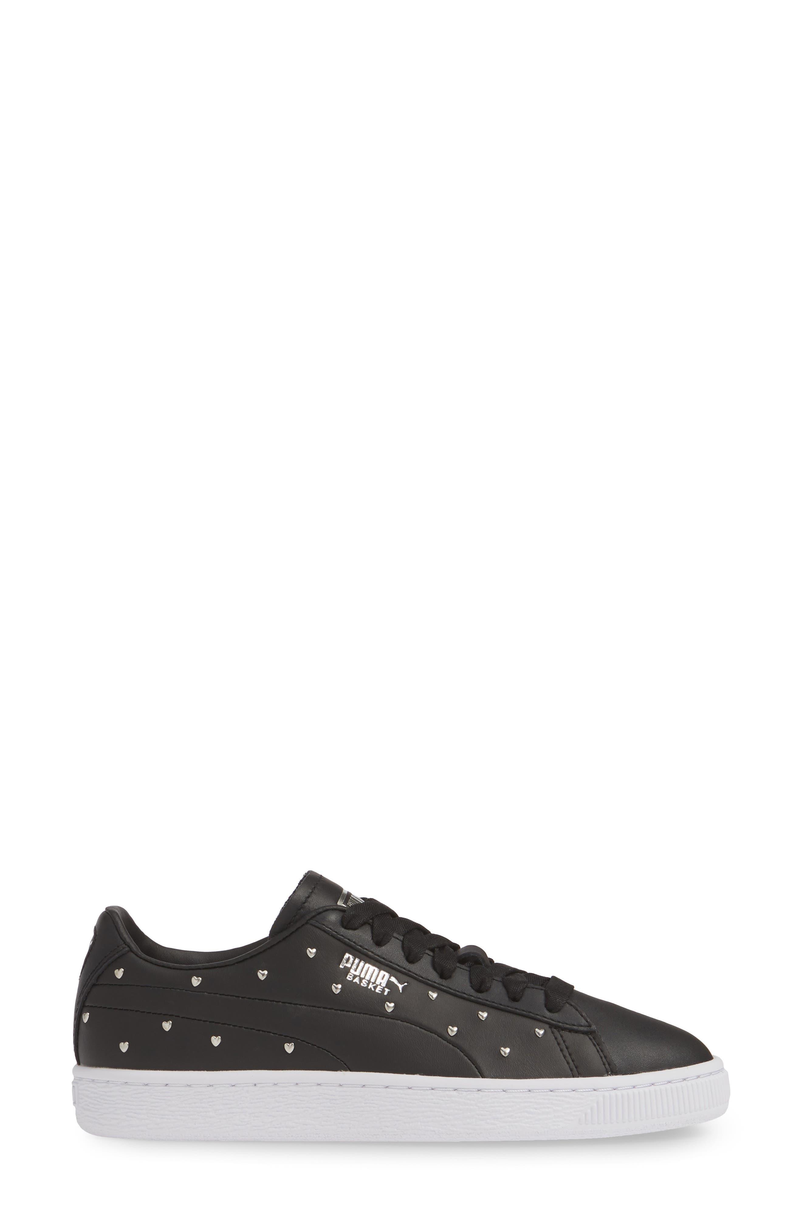 PUMA, Basket Studs Sneaker, Alternate thumbnail 3, color, BLACK/ SILVER