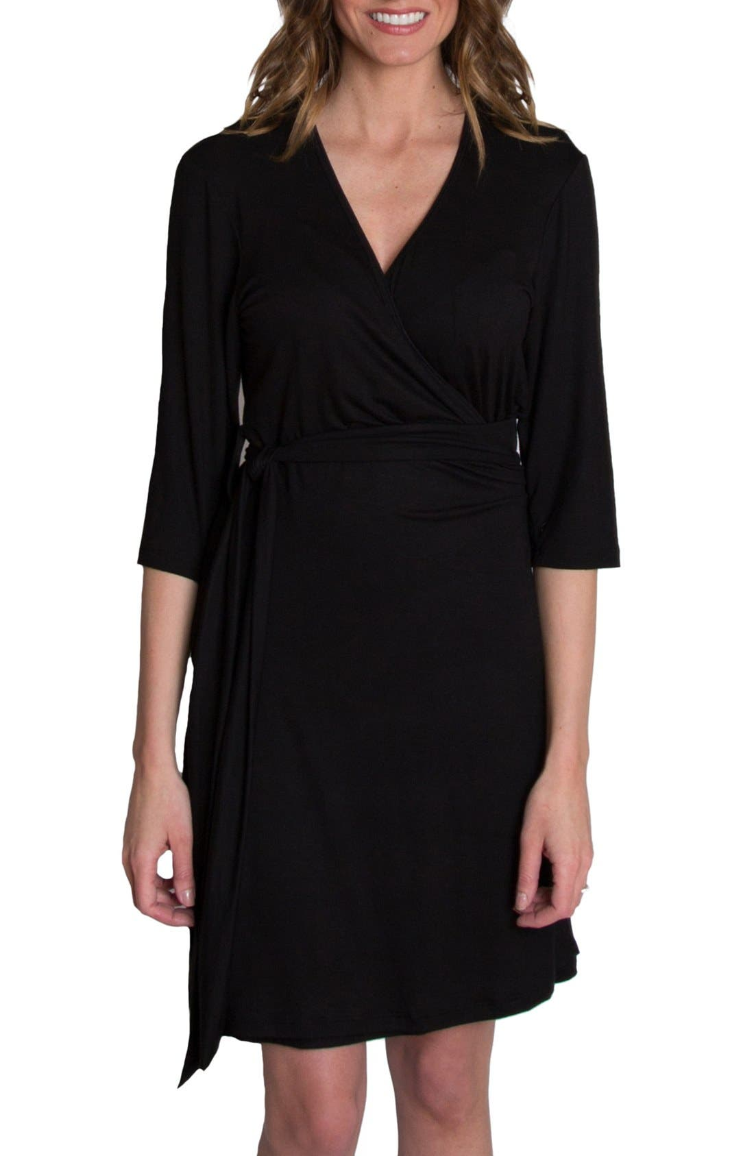 UDDERLY HOT MAMA, 'Whimsical' Nursing Wrap Dress, Main thumbnail 1, color, BLACK