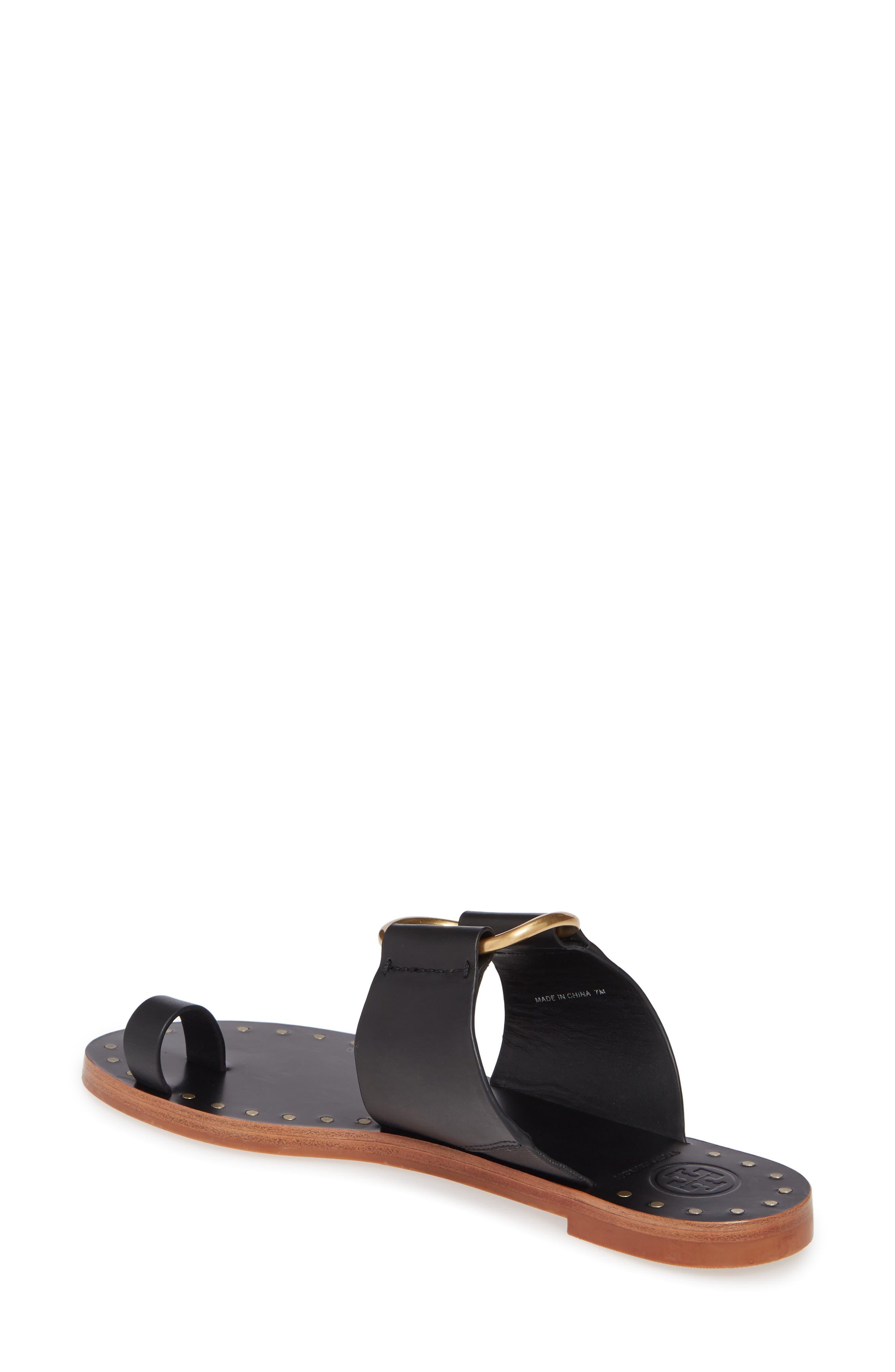TORY BURCH, Ravello Toe Ring Sandal, Alternate thumbnail 2, color, PERFECT BLACK/ GOLD