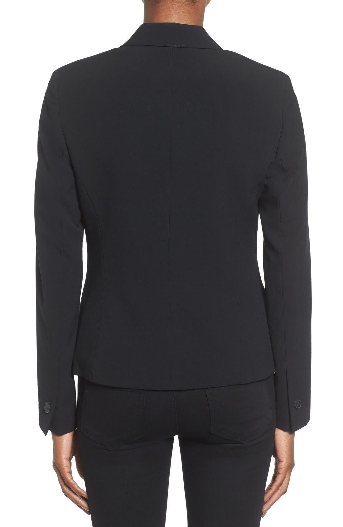 ANNE KLEIN, One-Button Suit Jacket, Alternate thumbnail 2, color, 001