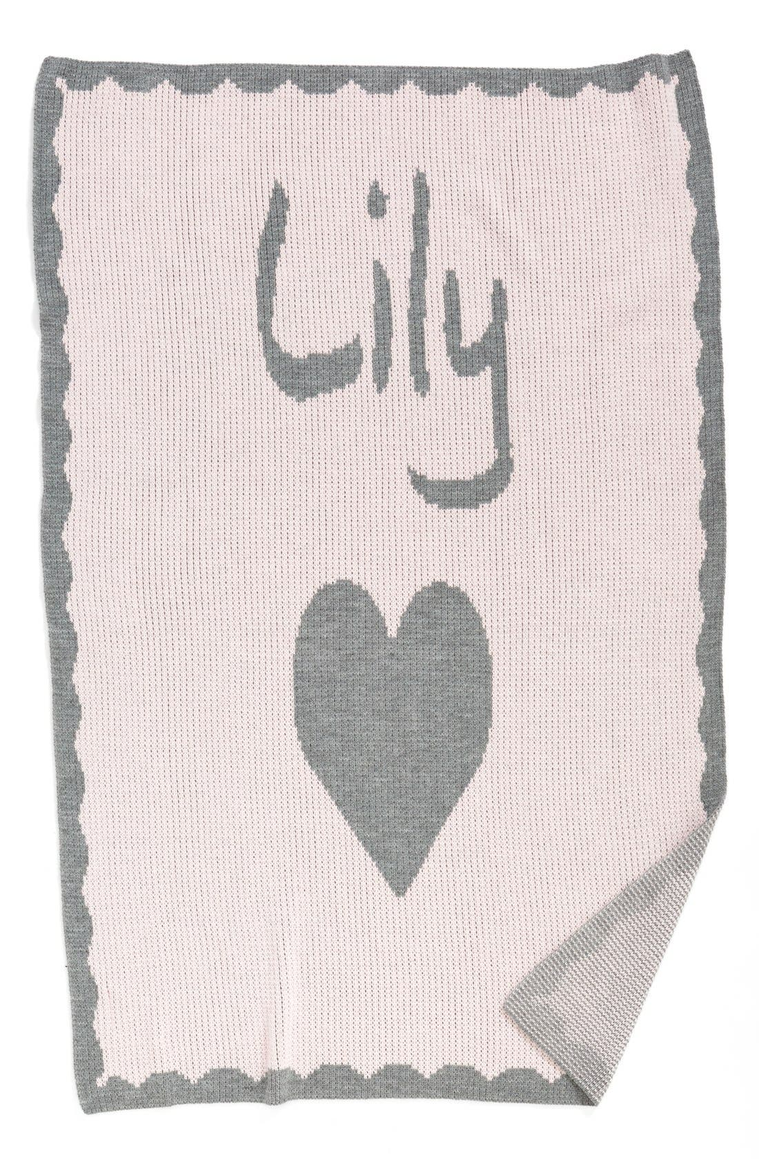 BUTTERSCOTCH BLANKEES, 'Heart' Personalized Crib Blanket, Main thumbnail 1, color, PINK