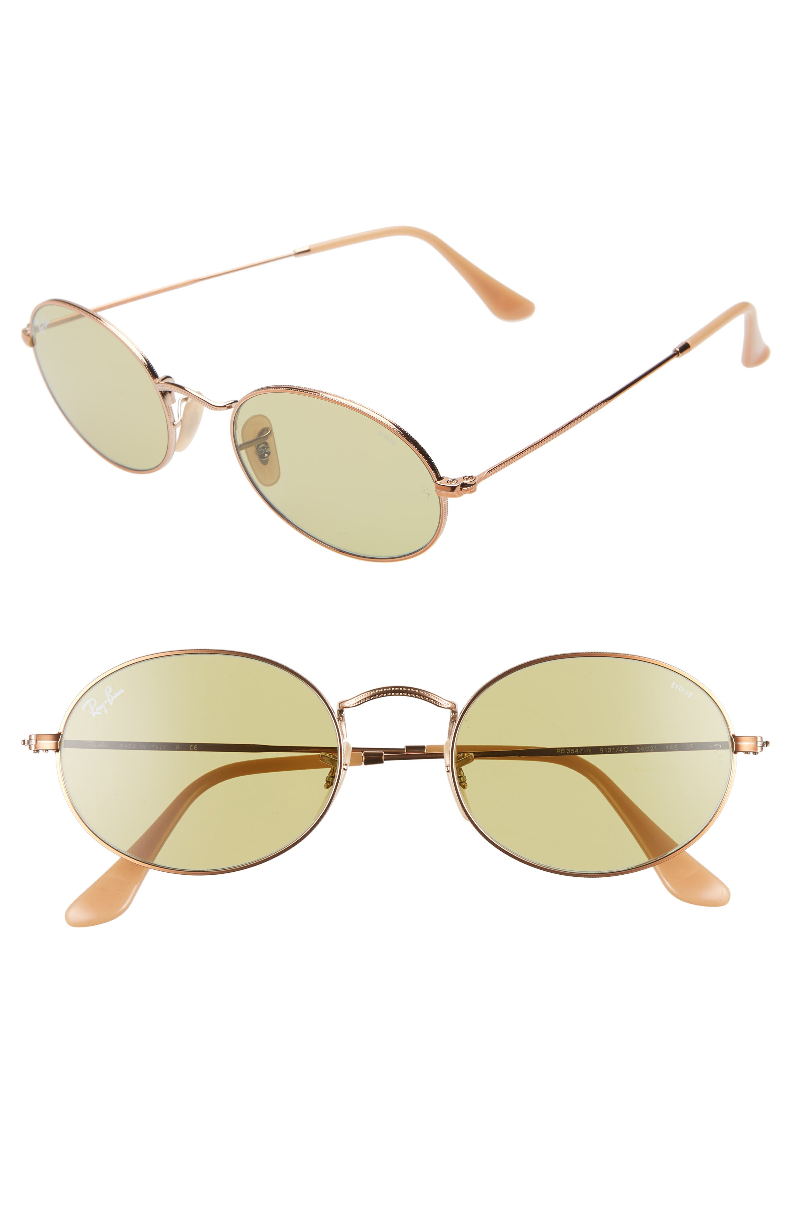 RAY-BAN Evolve 54mm Polarized Oval Sunglasses, Main, color, GOLD/ GREEN SOLID
