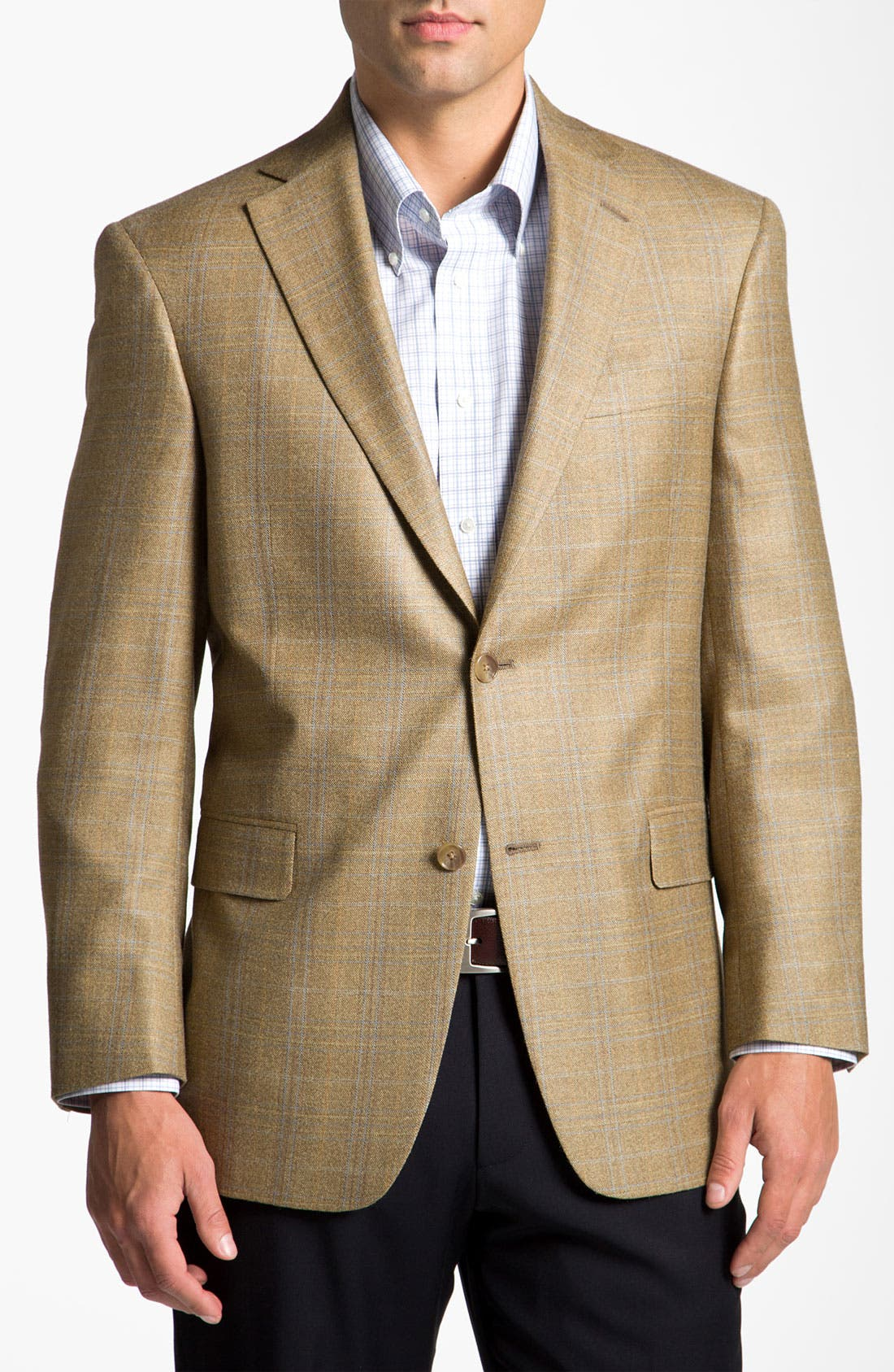 HART SCHAFFNER MARX, Brown Plaid Wool Sportcoat, Main thumbnail 1, color, 230
