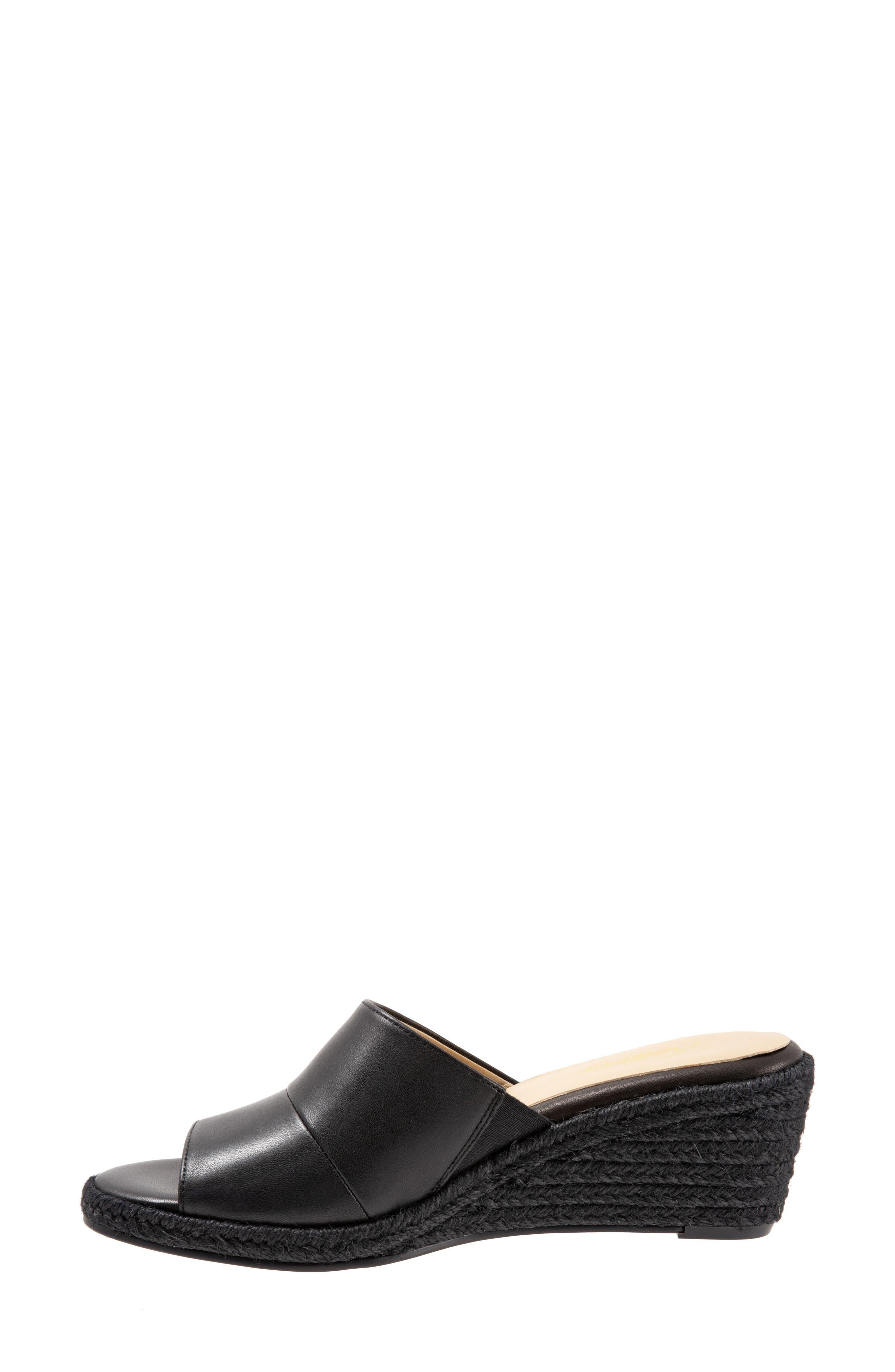 TROTTERS, Colony Wedge Slide Sandal, Alternate thumbnail 8, color, BLACK LEATHER