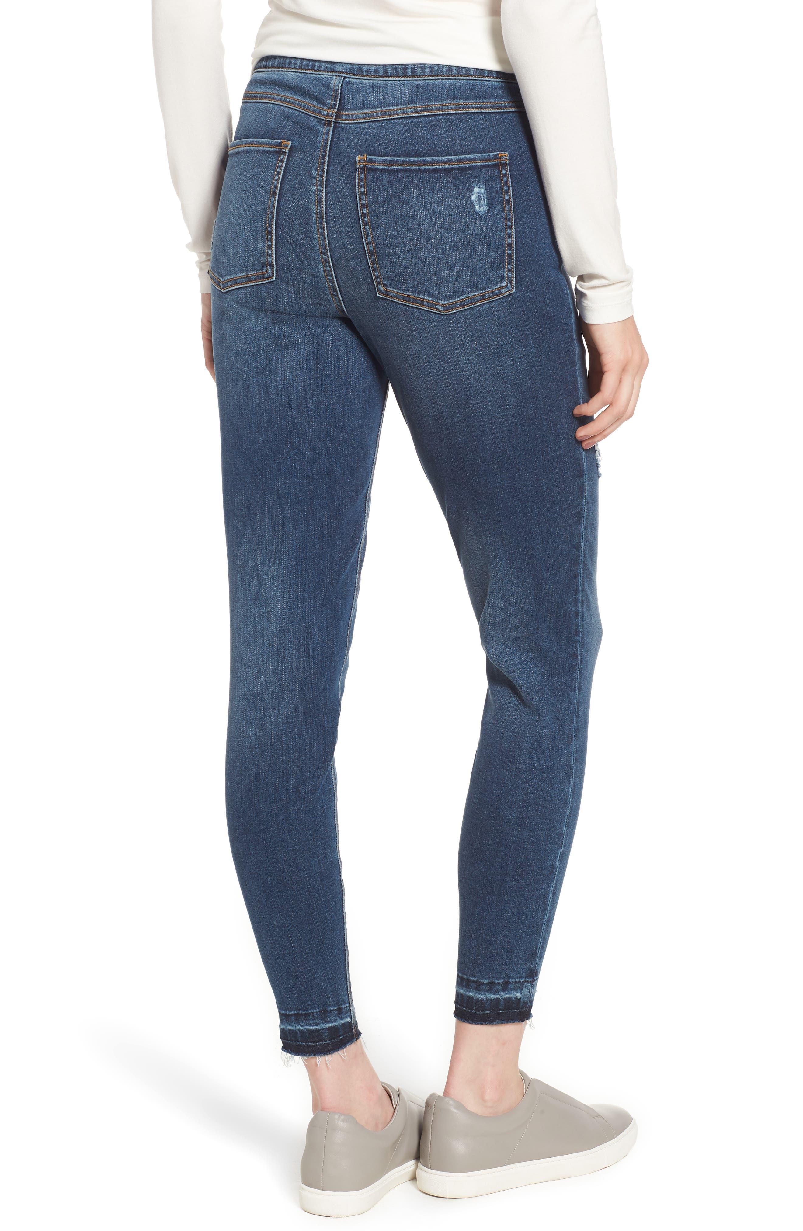 SPANX<SUP>®</SUP>, Distressed Skinny Jeans, Alternate thumbnail 2, color, MEDIUM WASH