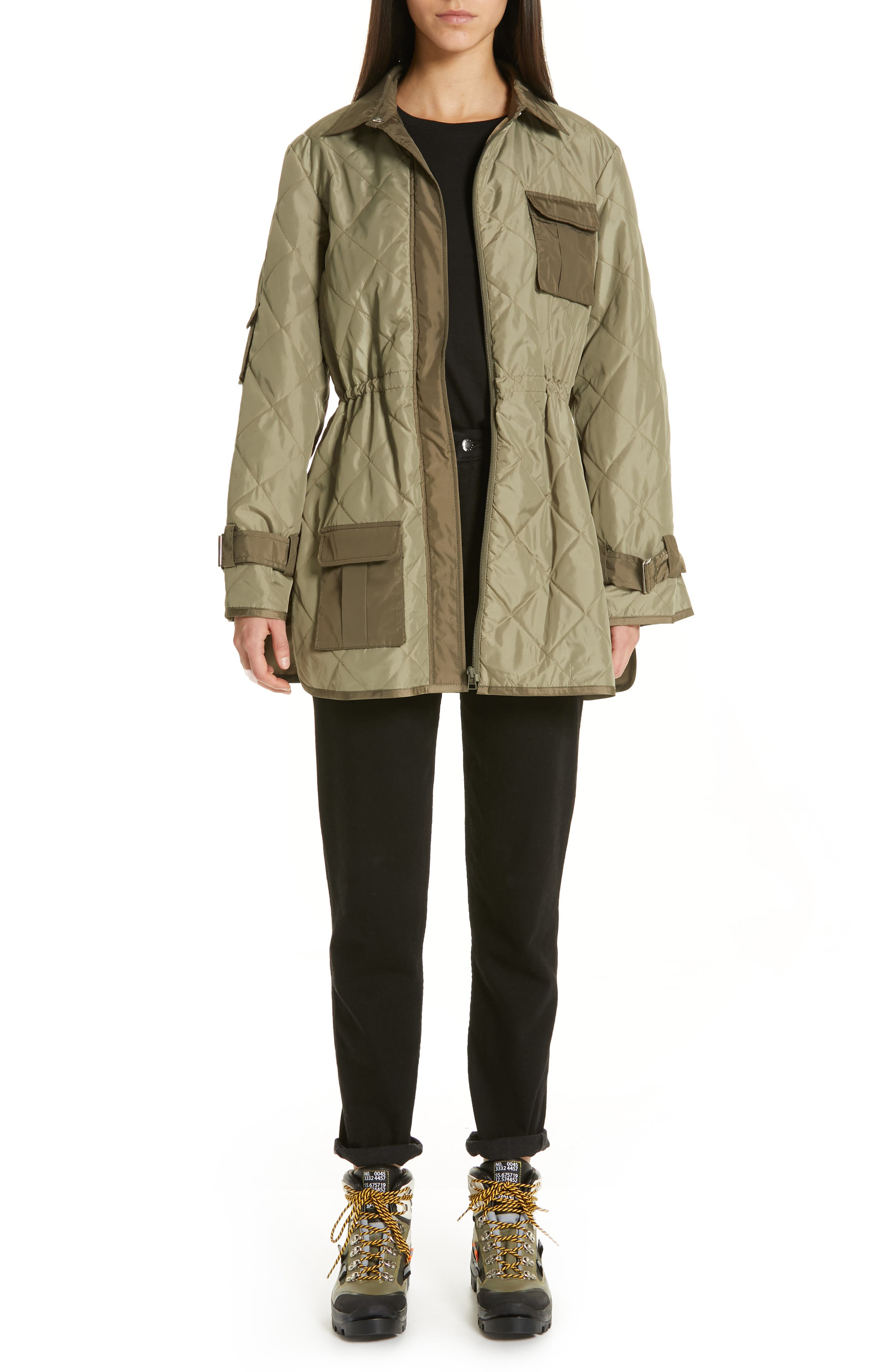 GANNI, Quilted Ripstop Jacket, Alternate thumbnail 7, color, ALOE