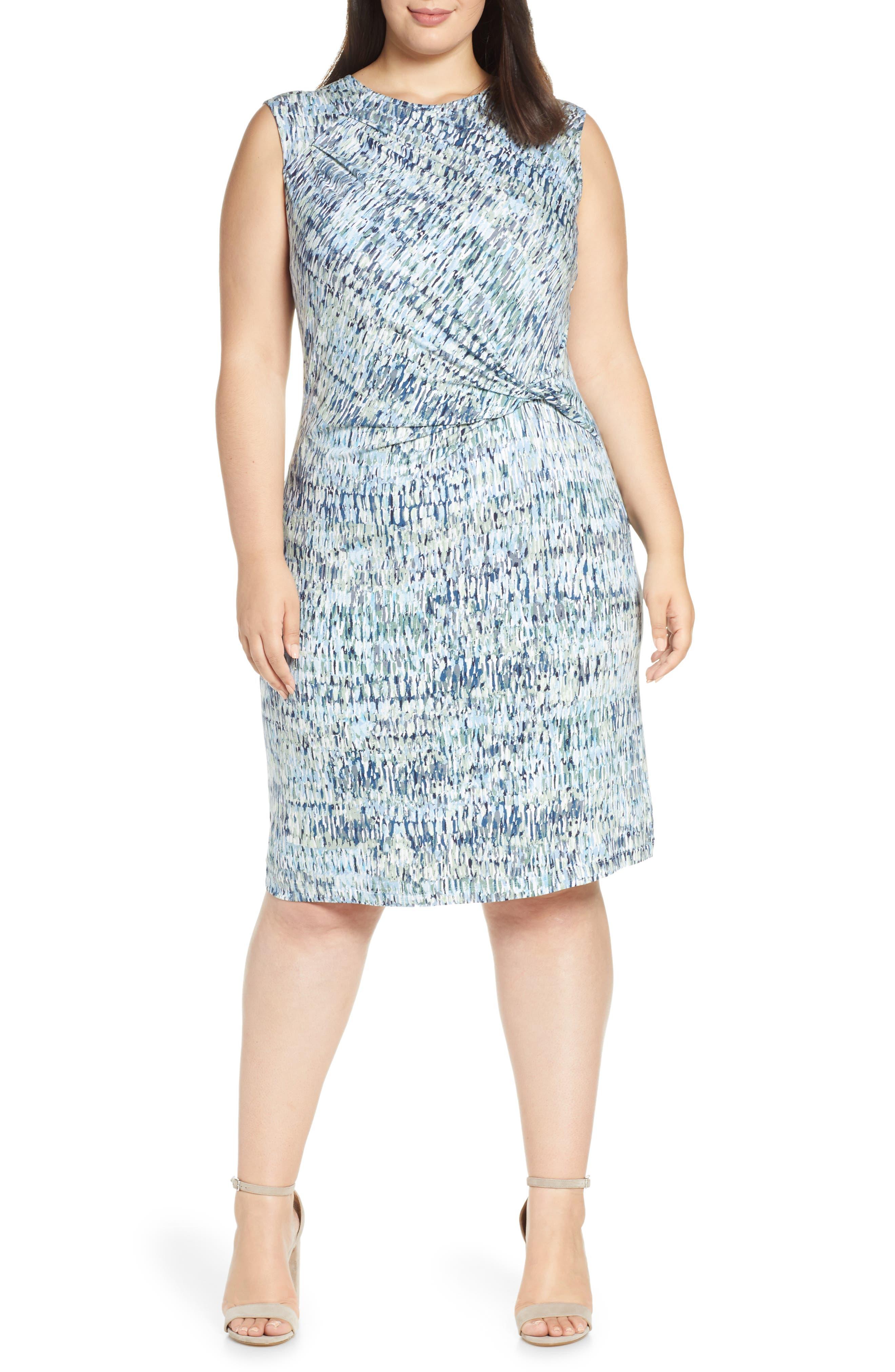 Plus Size Nic+Zoe Field Impression Twist Dress, Blue