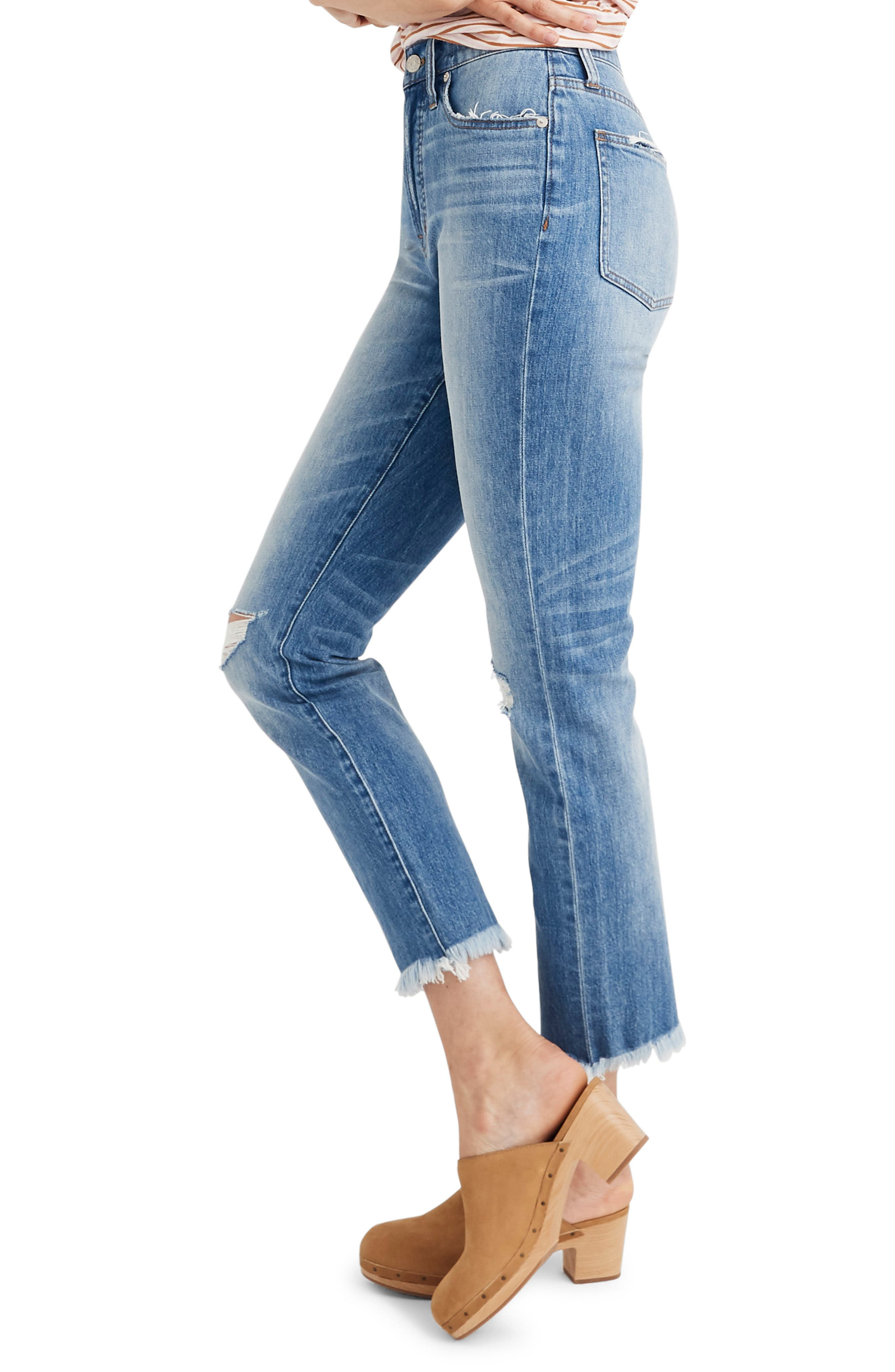 MADEWELL, The Perfect Vintage Crop High Waist Jeans, Alternate thumbnail 5, color, PARNELL WASH