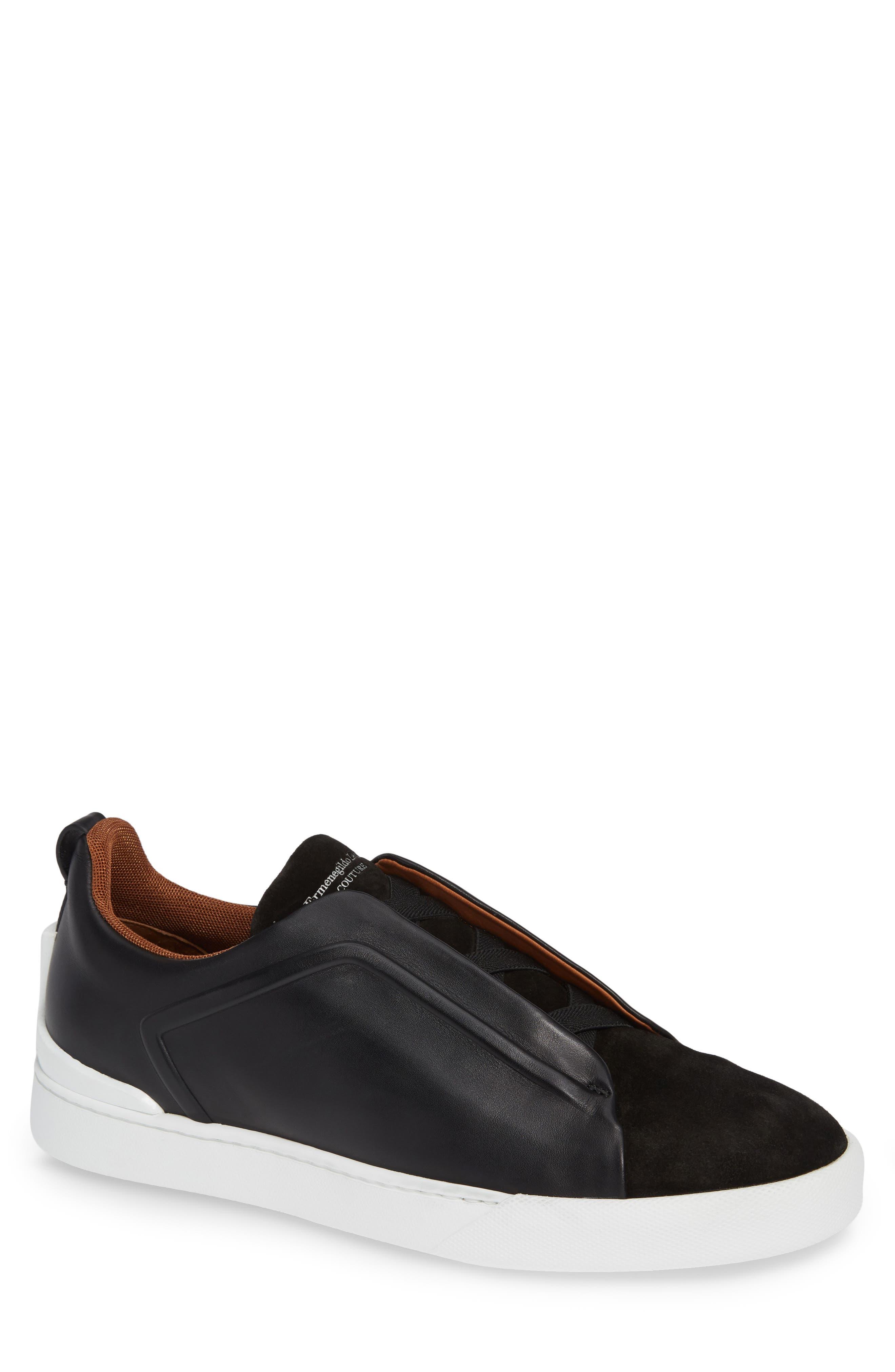 ERMENEGILDO ZEGNA, Slip-On Sneaker, Main thumbnail 1, color, BLACK