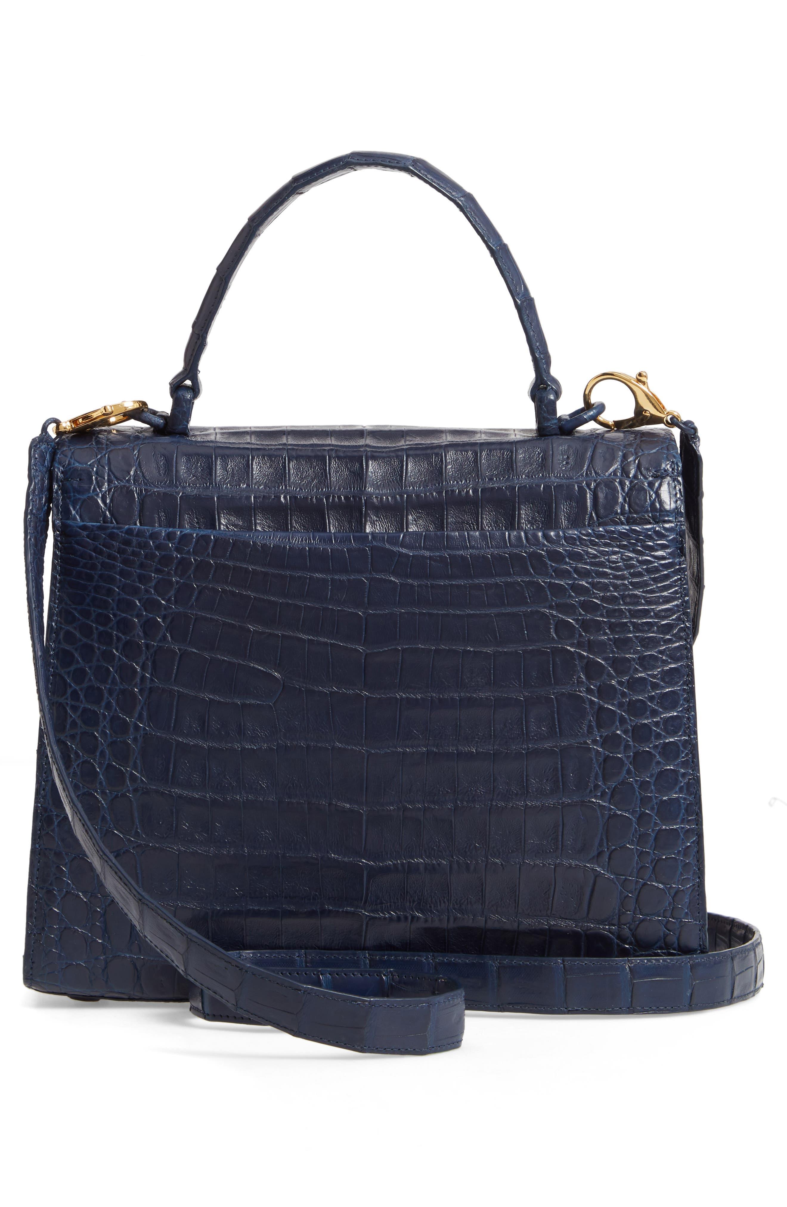 NANCY GONZALEZ, Medium Lily Genuine Crocodile Crossbody Bag, Alternate thumbnail 3, color, NAVY MATTE