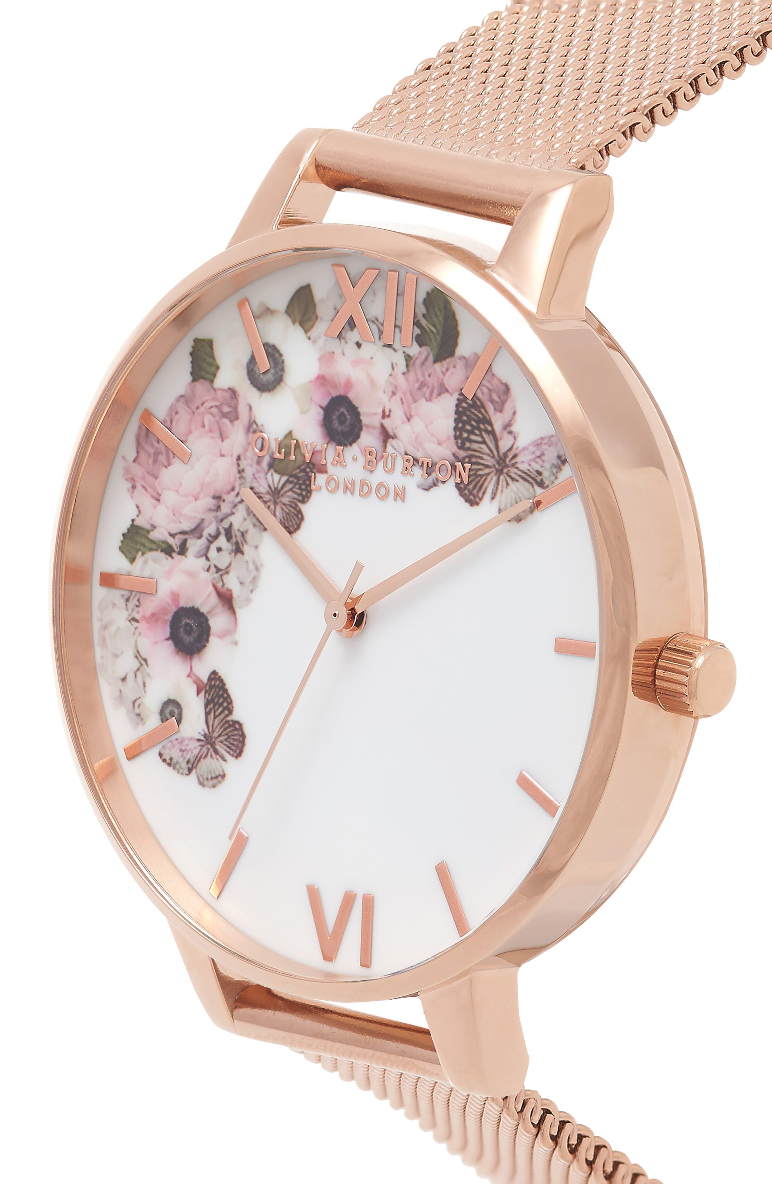 OLIVIA BURTON, Signature Florals Mesh Bracelet Watch, 38mm, Alternate thumbnail 4, color, ROSE GOLD/ ROSE GOLD/ WHITE