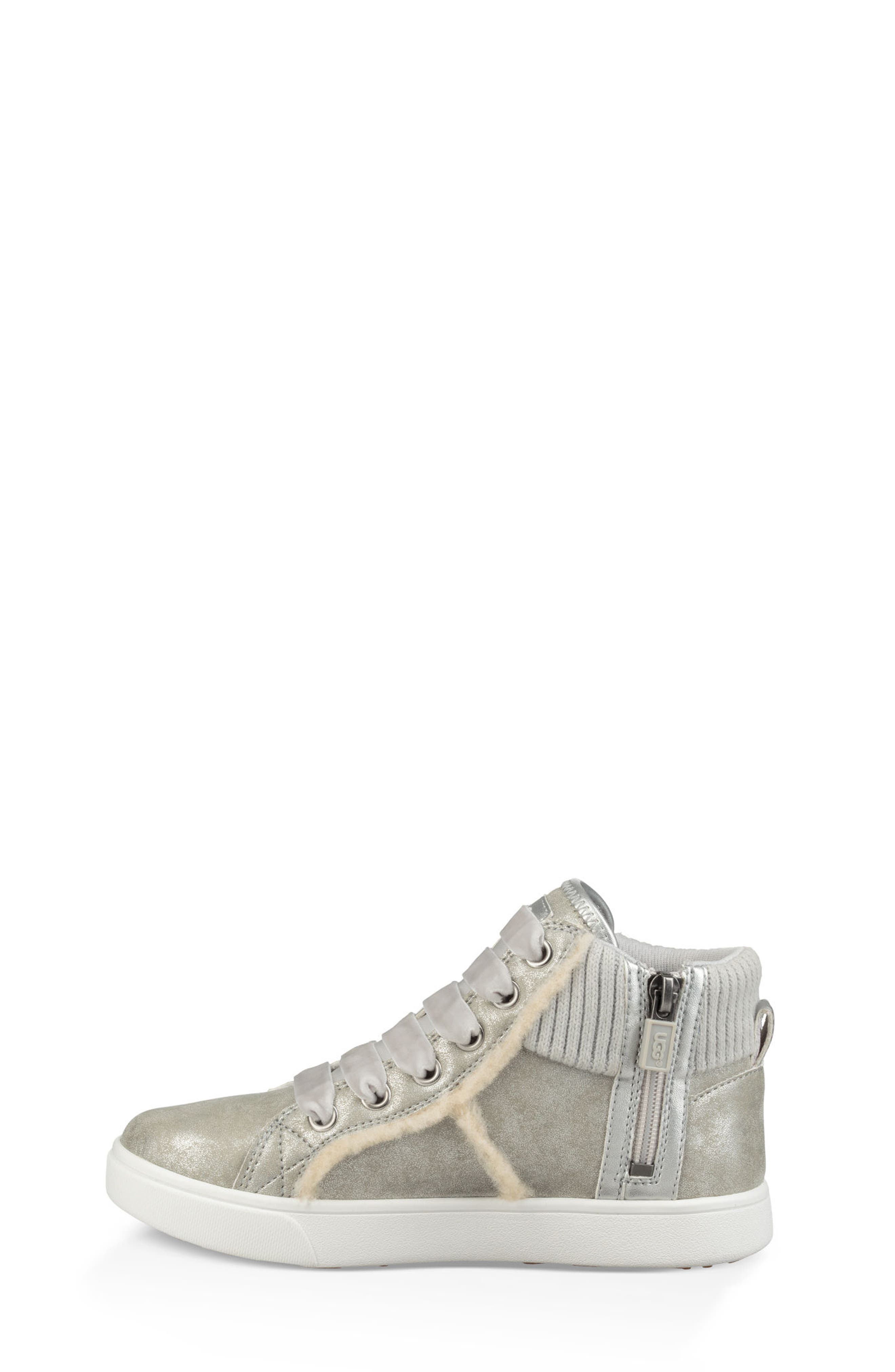 UGG<SUP>®</SUP>, Addie High Top Sneaker, Alternate thumbnail 5, color, SILVER