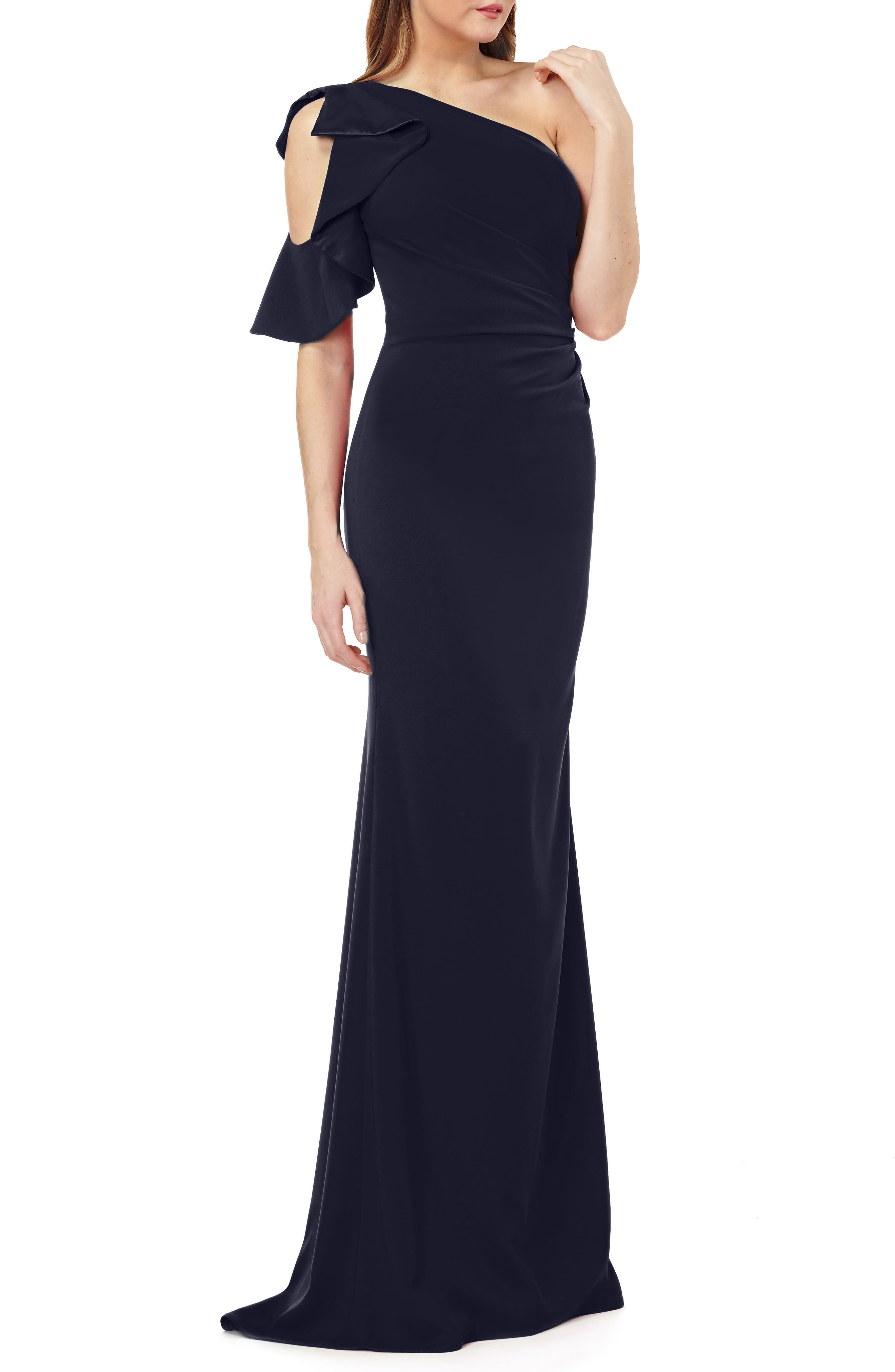Carmen Marc Valvo One-Shoulder Ruffle Gown
