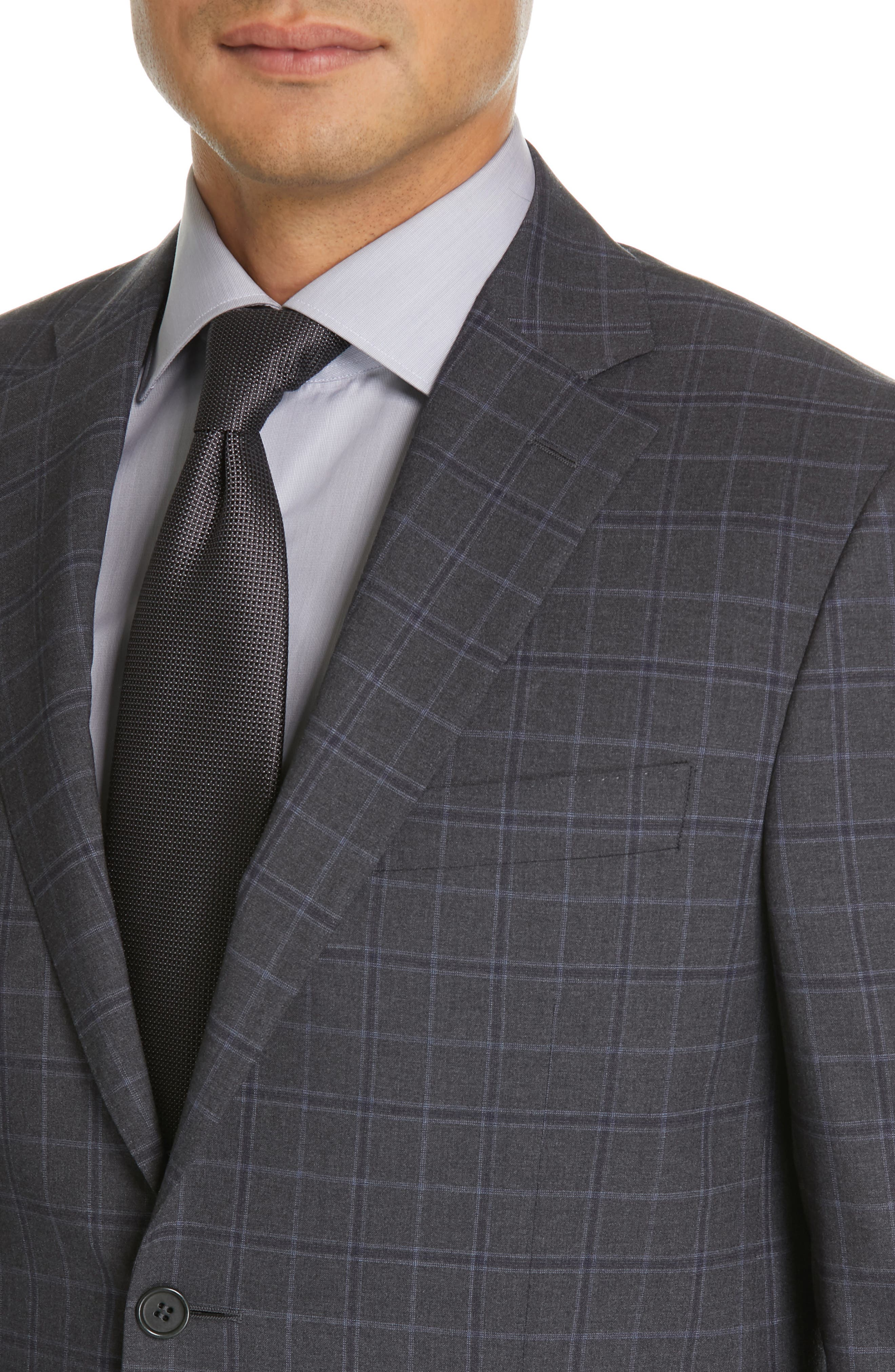 CANALI, Sienna Classic Fit Plaid Wool Suit, Alternate thumbnail 4, color, CHARCOAL
