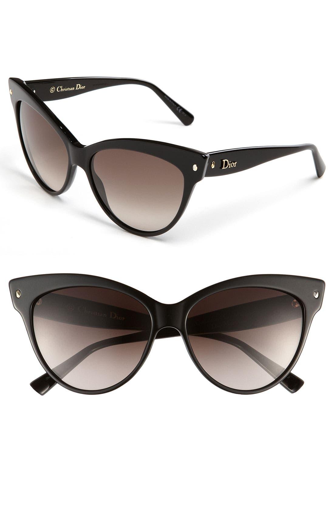 DIOR, 'Mohotani' 58mm Cat Eye Sunglasses, Main thumbnail 1, color, 001