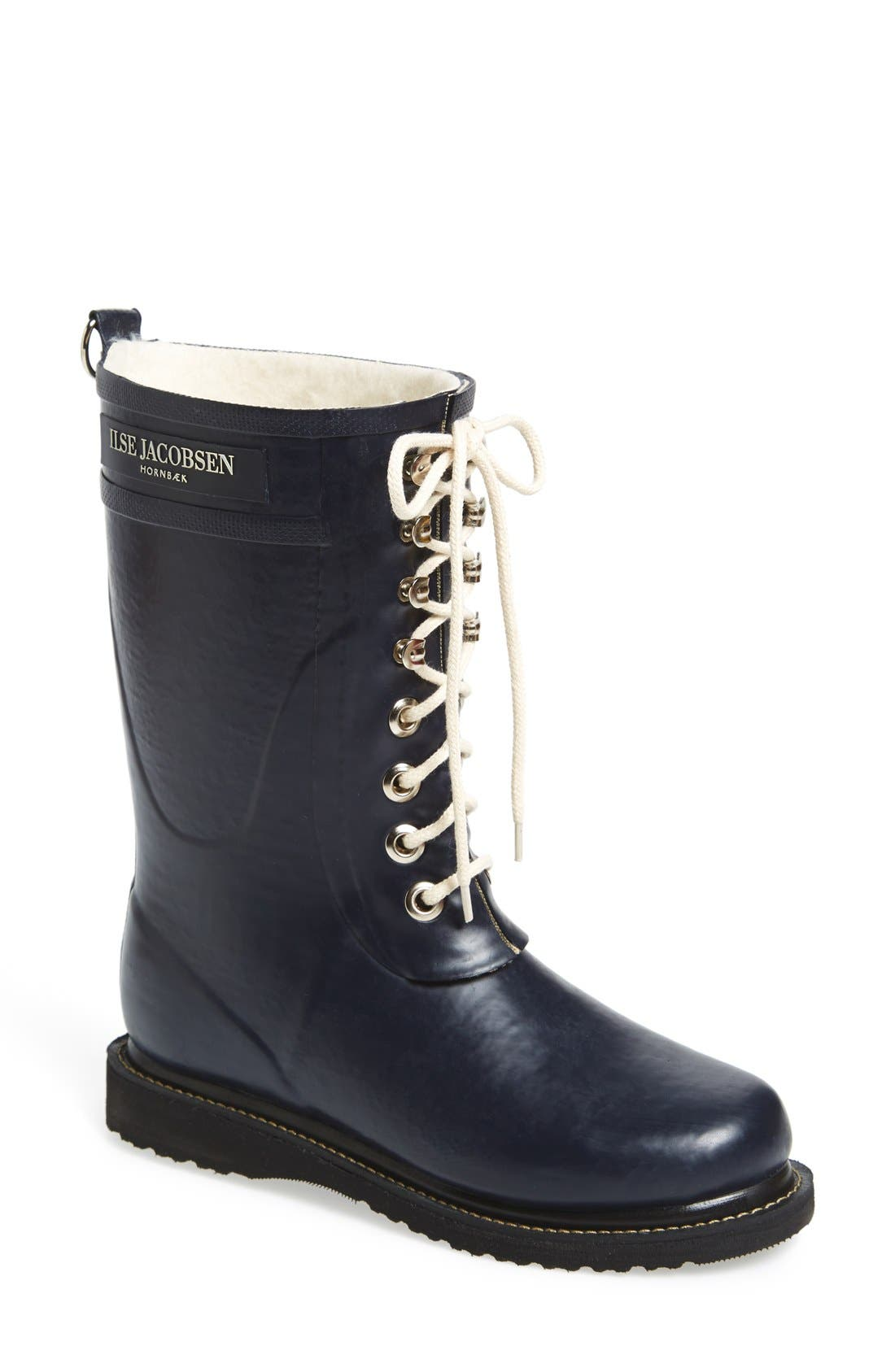 ILSE JACOBSEN, Rubber Waterproof Boot, Main thumbnail 1, color, DARK INDIGO