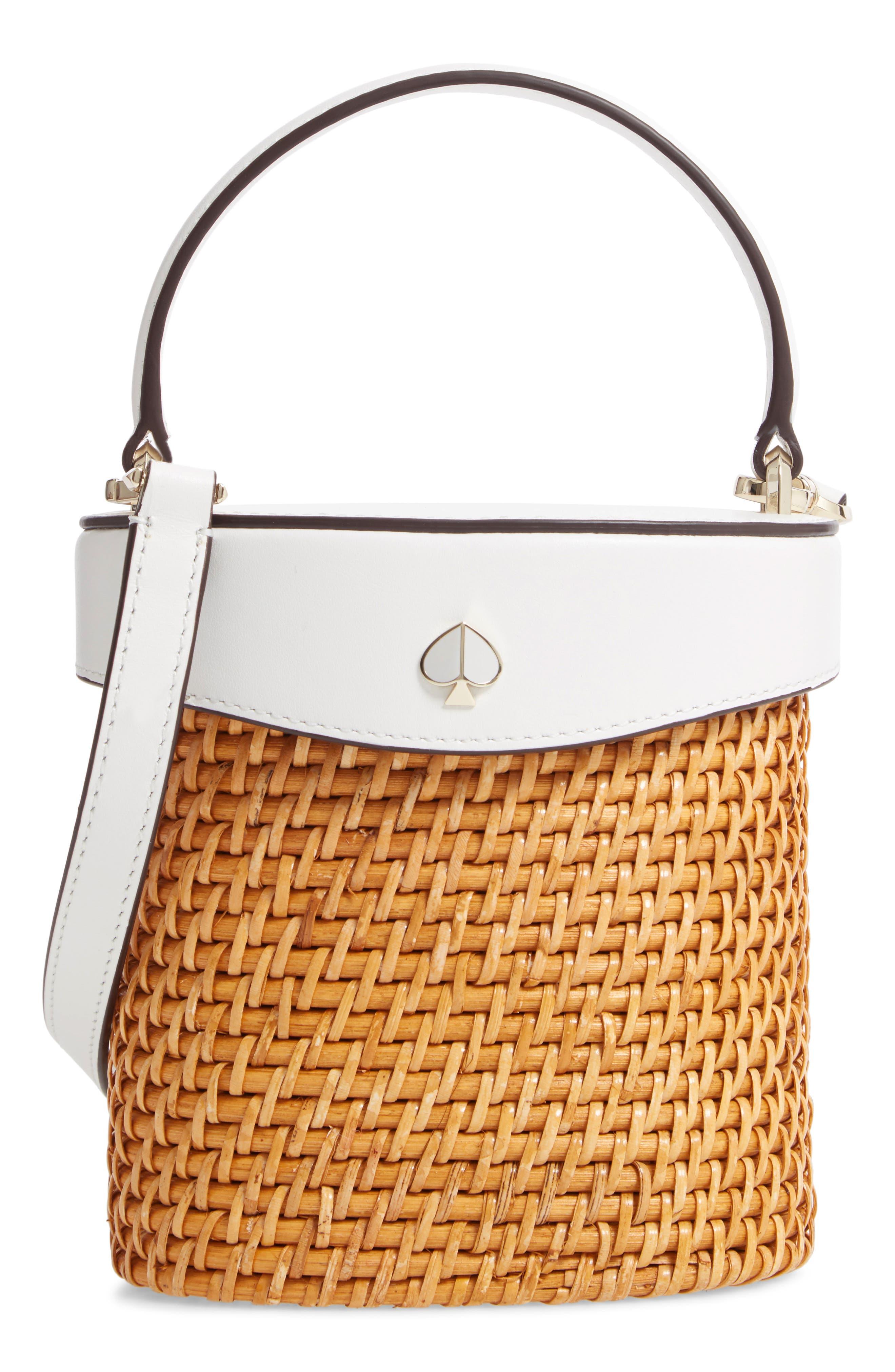 KATE SPADE NEW YORK mini rose rattan bucket bag, Main, color, OPTIC WHITE