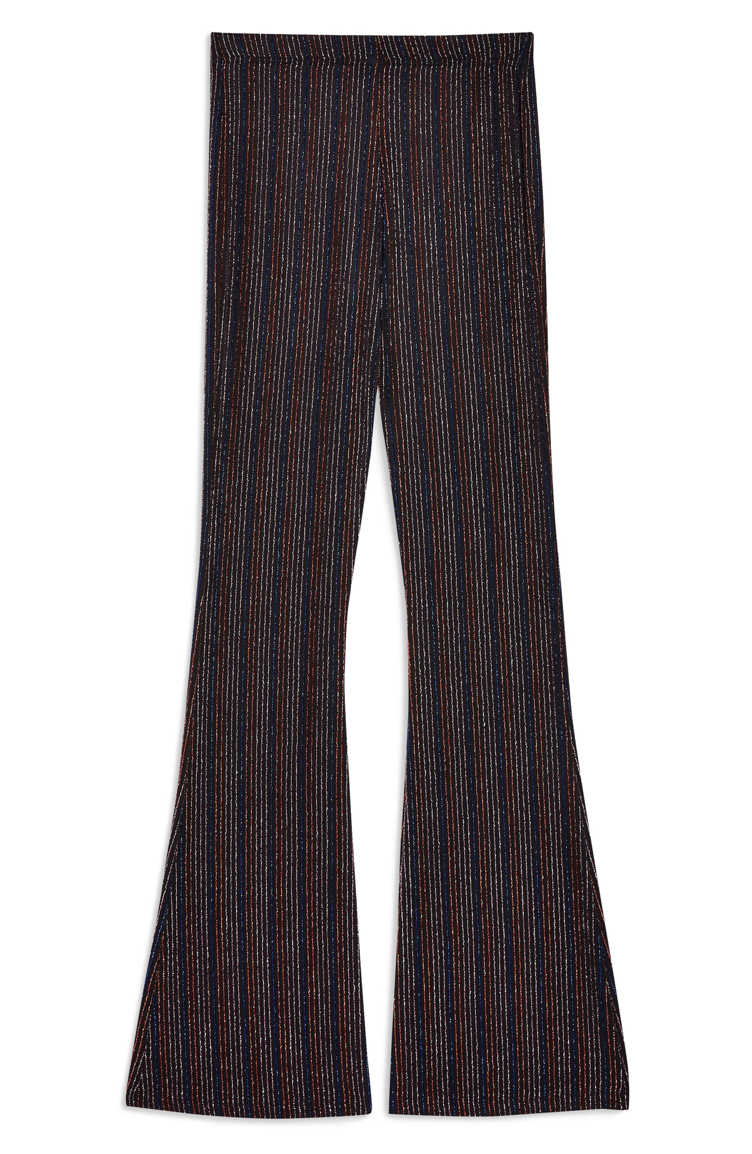 TOPSHOP, Glitter Stripe Flare Leg Pants, Alternate thumbnail 3, color, 001
