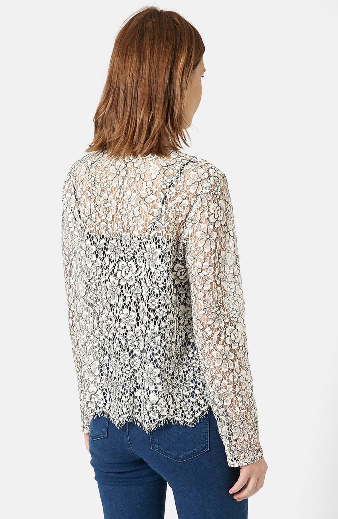 TOPSHOP, Scallop Lace Shirt, Alternate thumbnail 2, color, 900