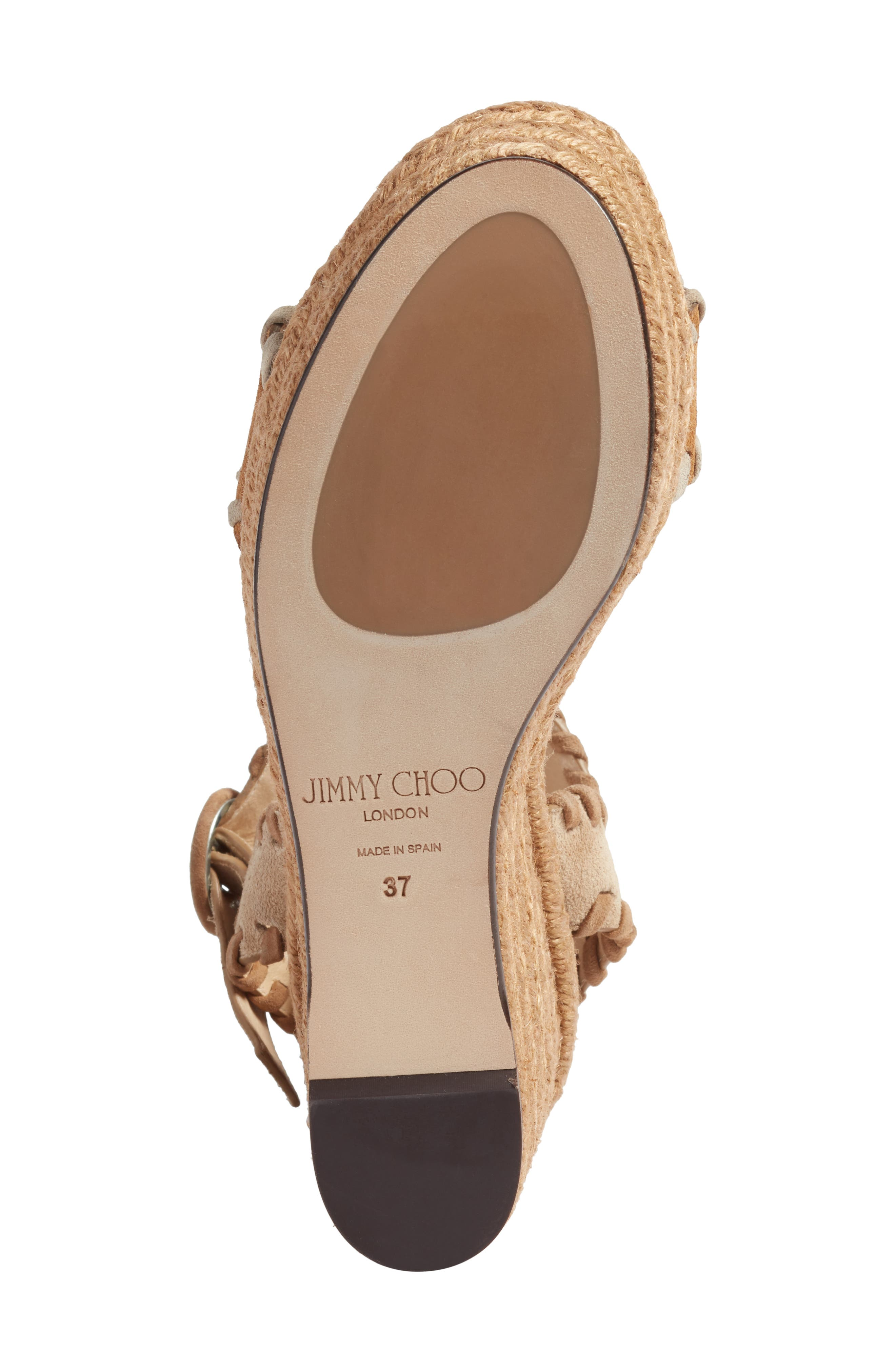 JIMMY CHOO, Abigail Whipstitch Wedge, Alternate thumbnail 6, color, NATURAL/ BROWN