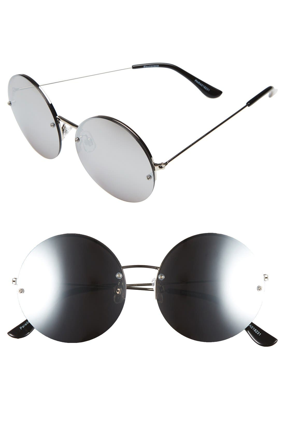 BP., 55mm Rimless Mirrored Round Sunglasses, Main thumbnail 1, color, 040