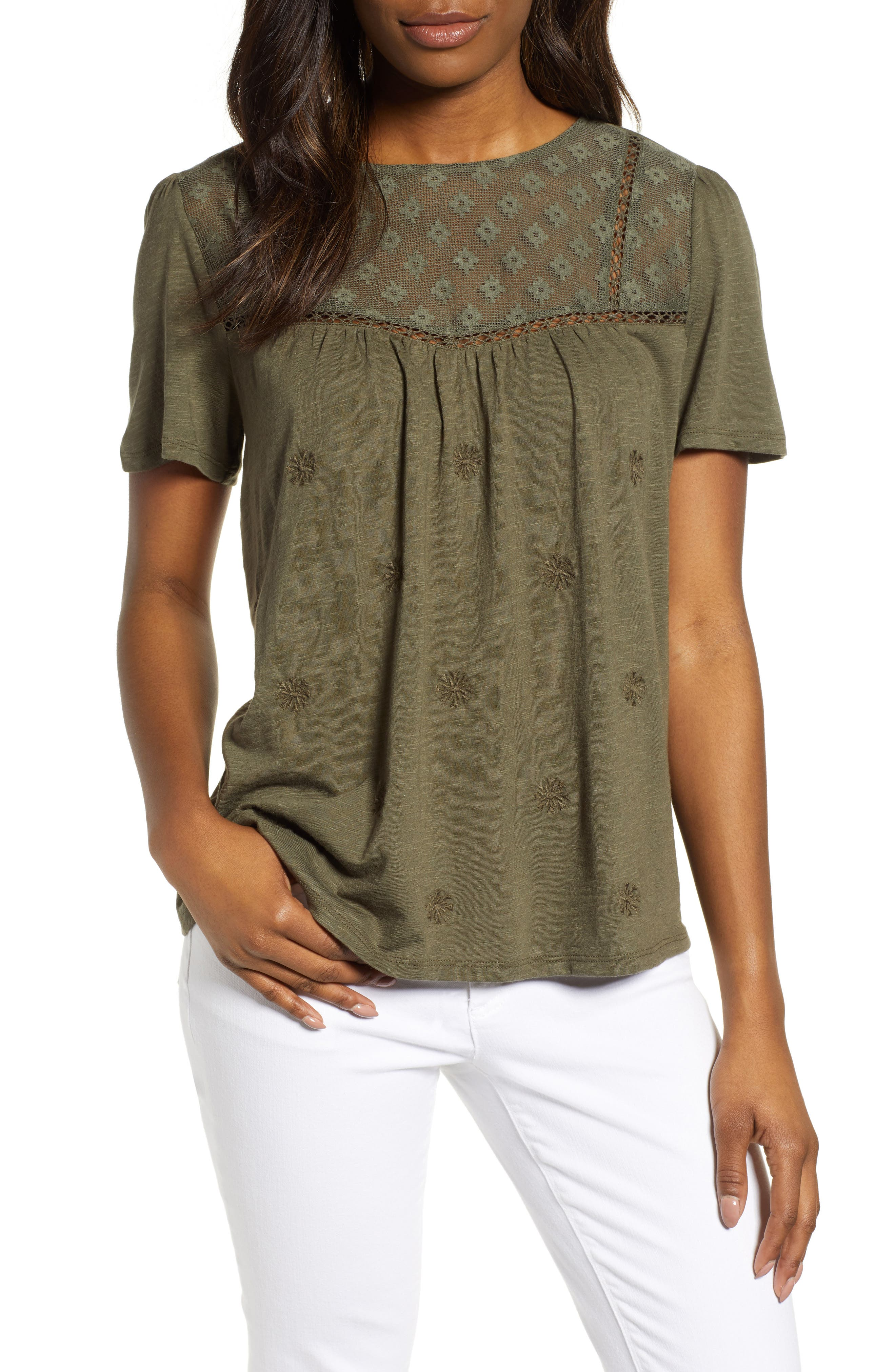 CASLON<SUP>®</SUP> Embroidered Mesh Yoke Top, Main, color, OLIVE SARMA