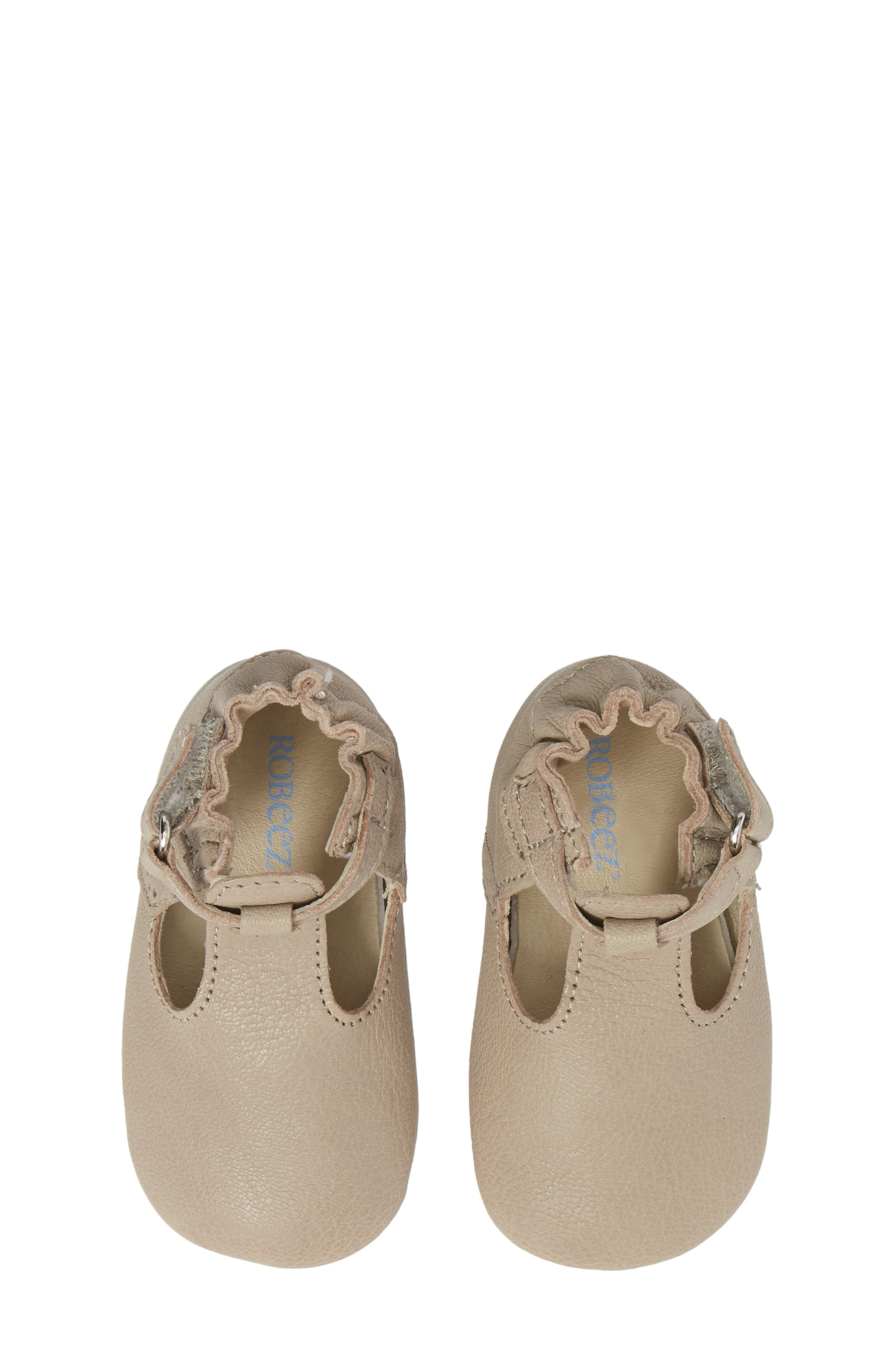 ROBEEZ<SUP>®</SUP>, Penny T-Strap Mary Jane Crib Shoe, Alternate thumbnail 5, color, TAUPE