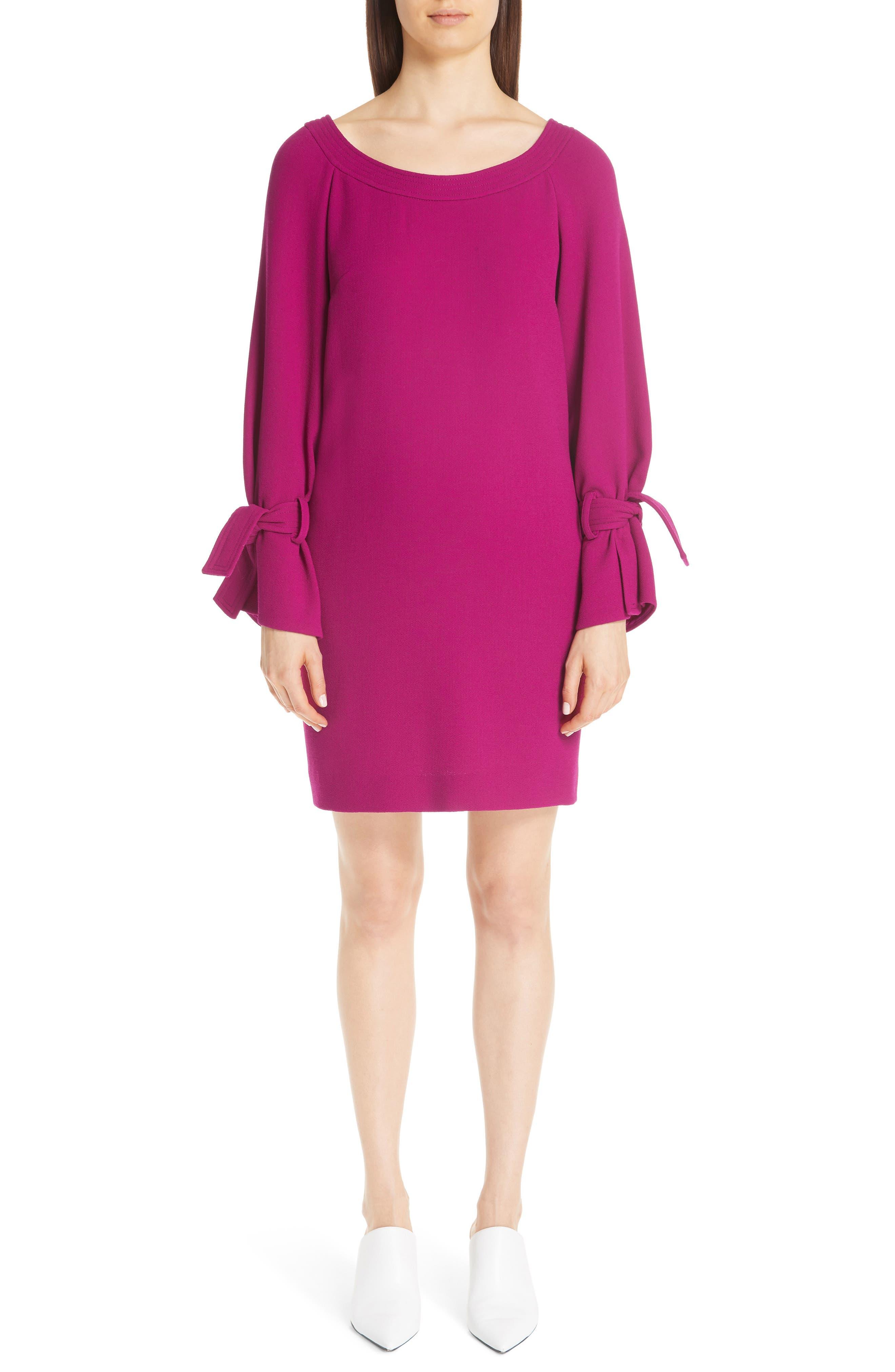 LELA ROSE, Tie Cuff Wool Blend Crepe Shift Dress, Main thumbnail 1, color, MAGENTA