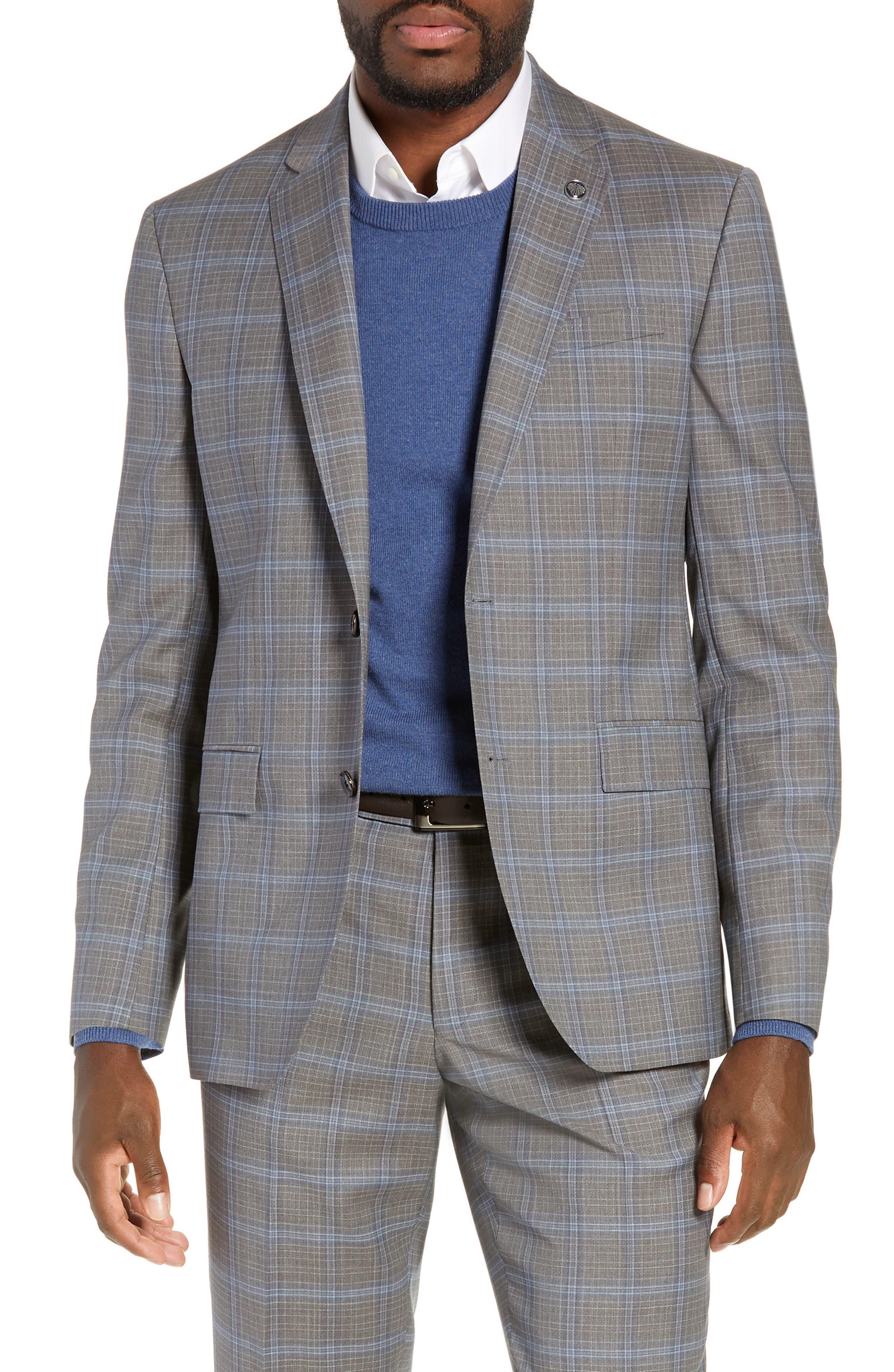 TED BAKER LONDON, Jay Trim Fit Plaid Wool Suit, Alternate thumbnail 5, color, LIGHT GREY